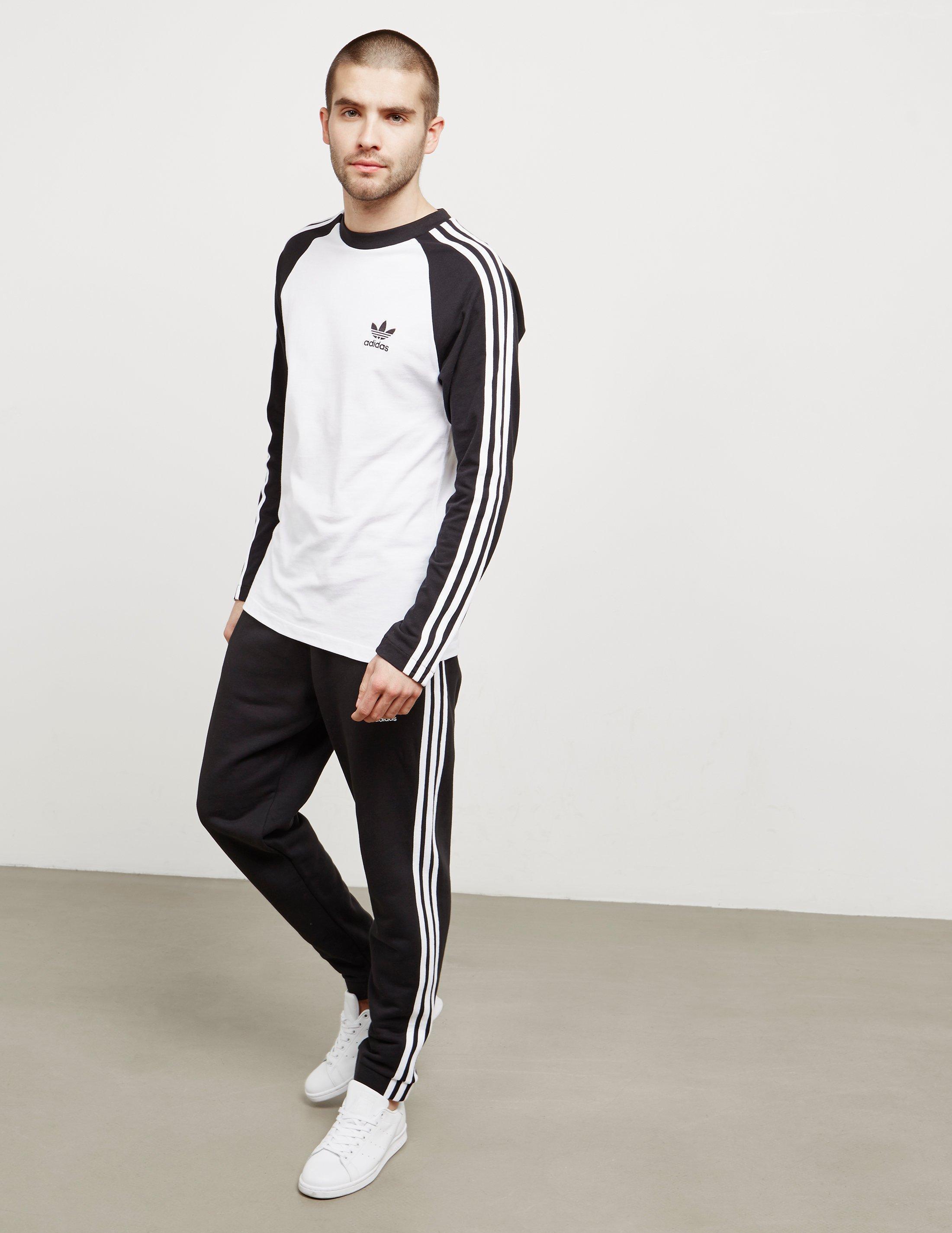 e769891a5 Adidas Originals Long Sleeve 3 Stripes T Shirt White Blue - Nils ...
