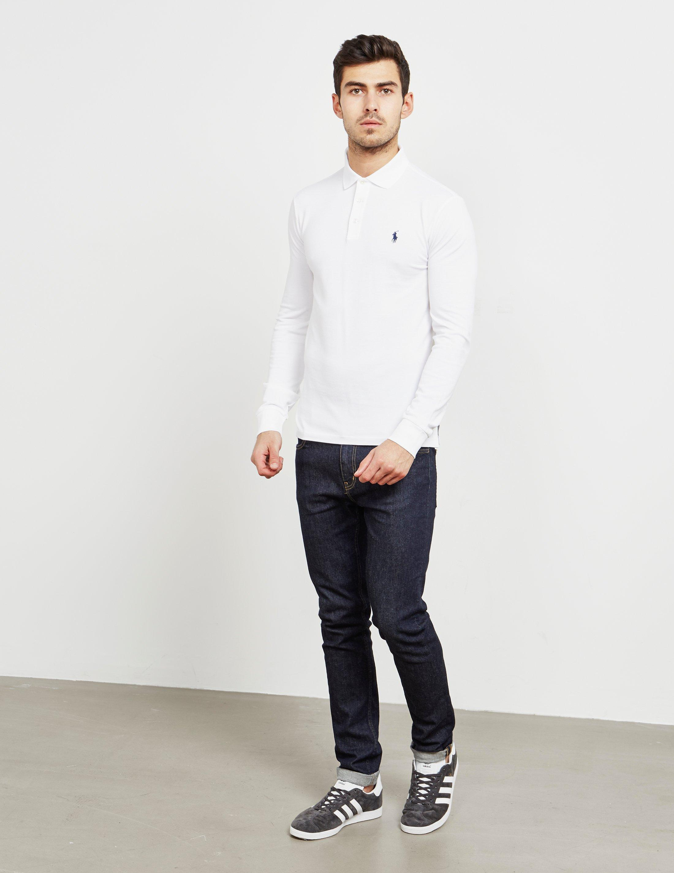2dc756928e97 Polo Ralph Lauren Stretch Long Sleeve Polo Shirt White in White for Men -  Save 17% - Lyst