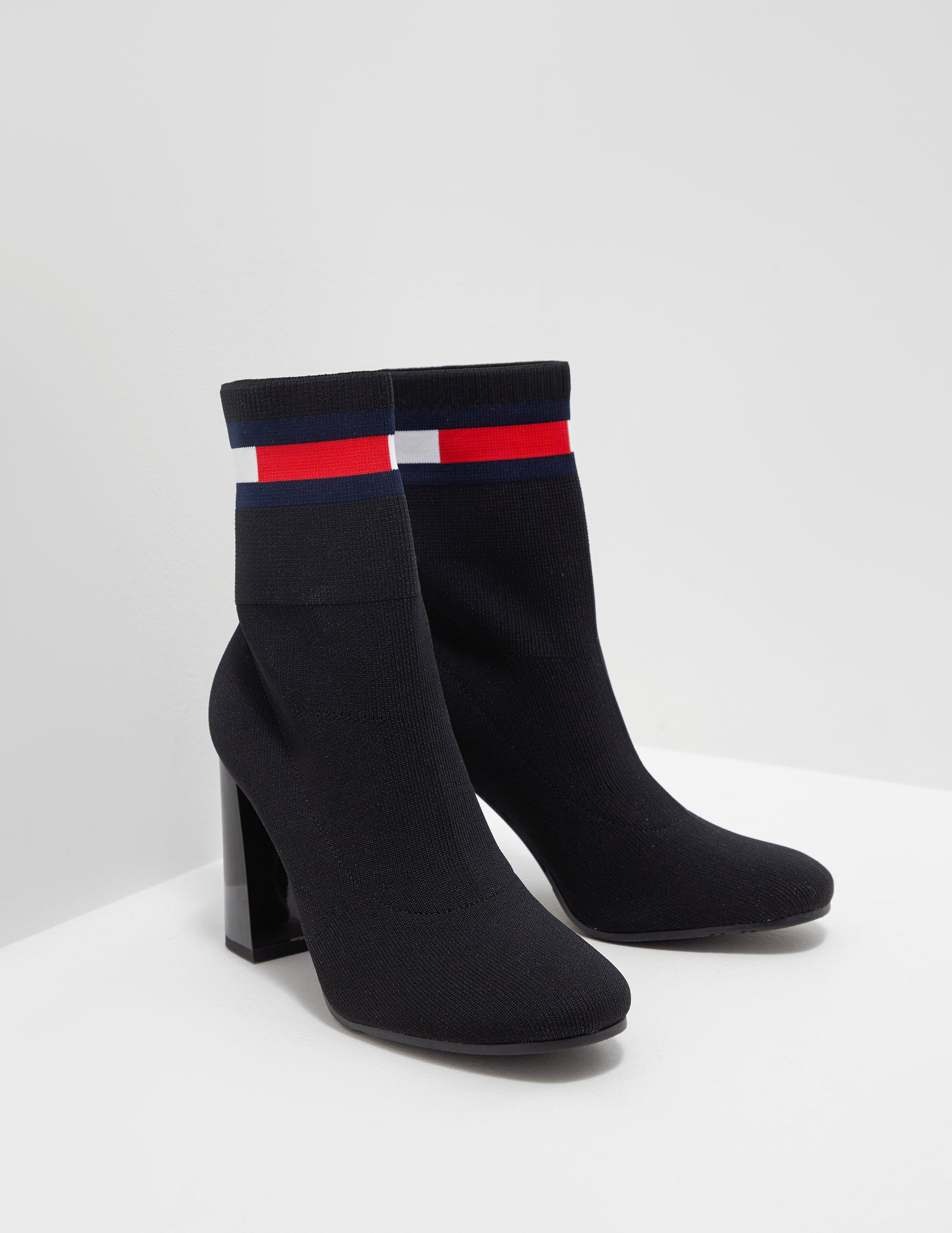 ed47b2326085 Tommy Hilfiger Flag Heeled Sock Boots in Black - Lyst