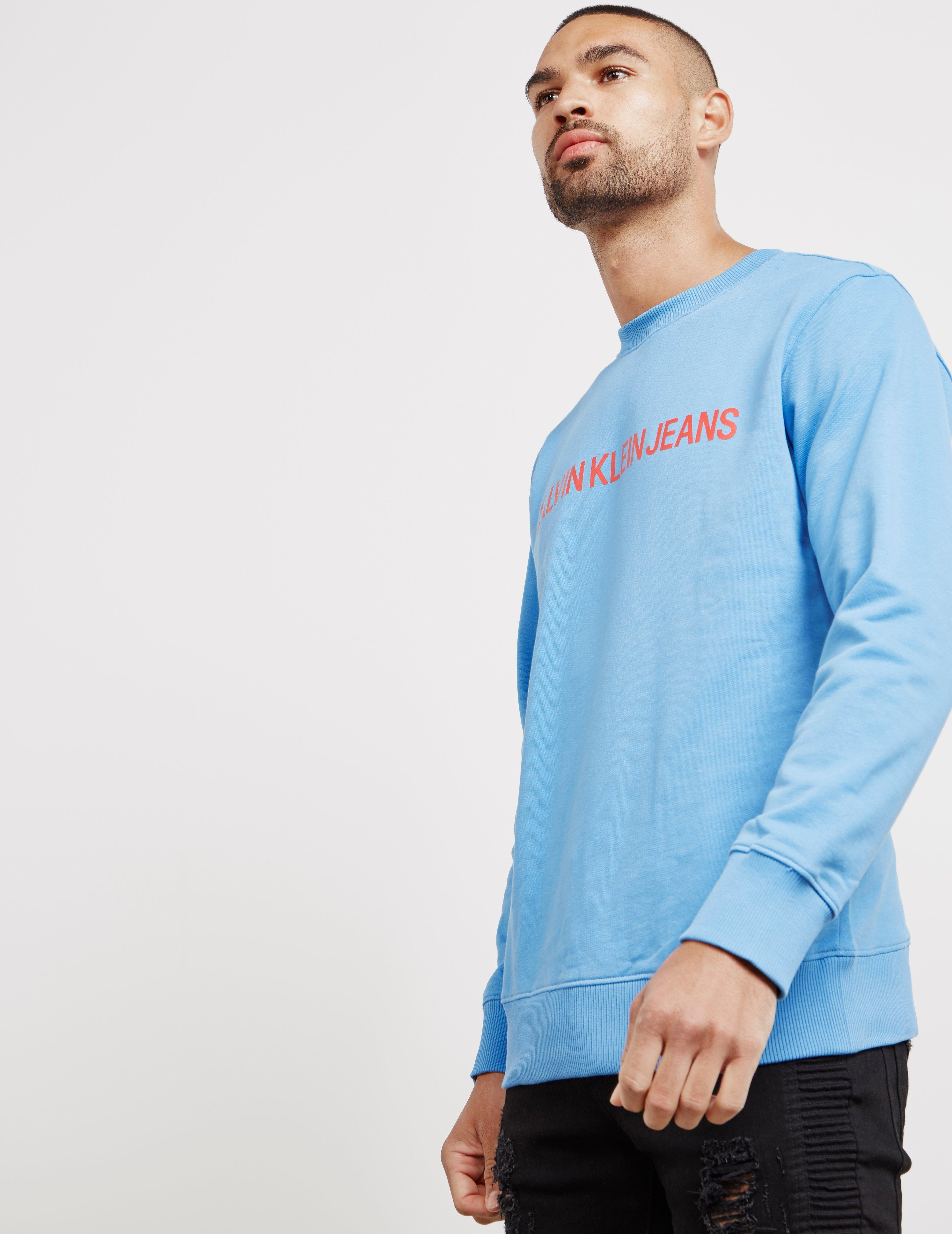 767be6d17ca6 Lyst - Calvin Klein Institutional Crew Sweatshirt Blue in Blue for ...