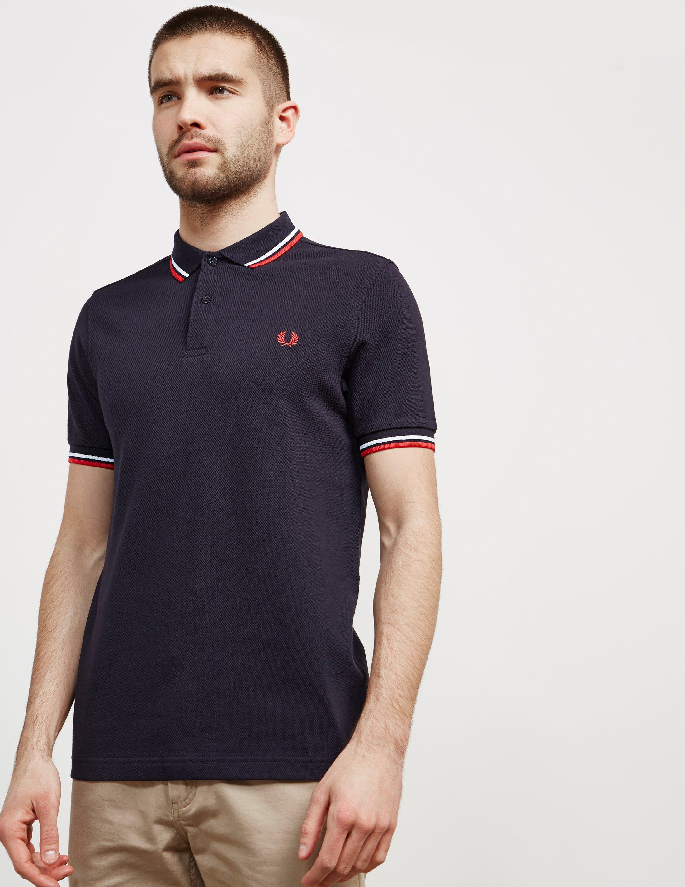 85899d73c Fred Perry Twin Tipped Short Sleeve Polo Shirt Dark Navy white red ...