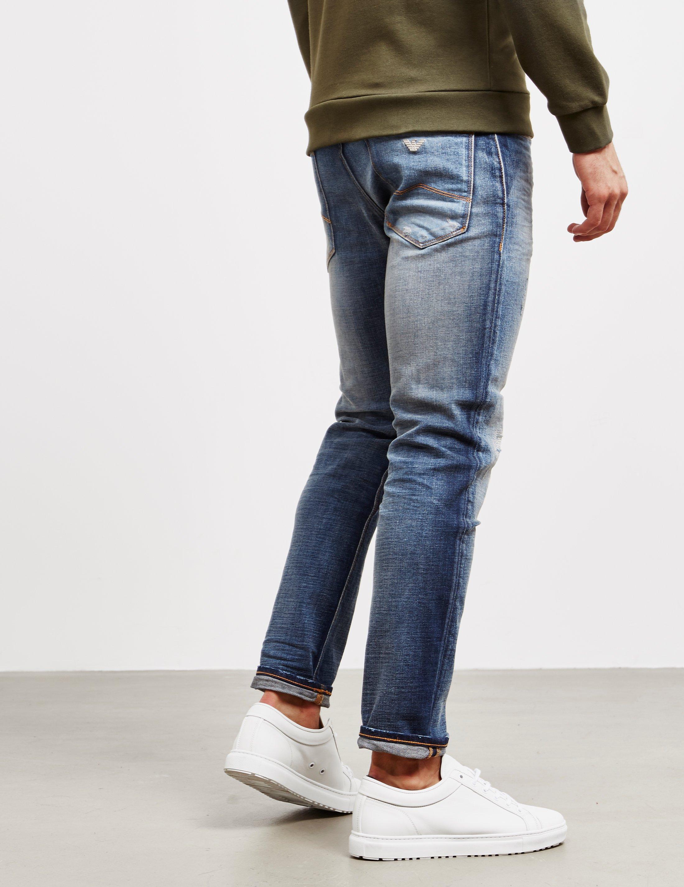 f13889b7a19 Lyst - Emporio Armani J06 Slim Distressed Jeans Blue in Blue for Men ...