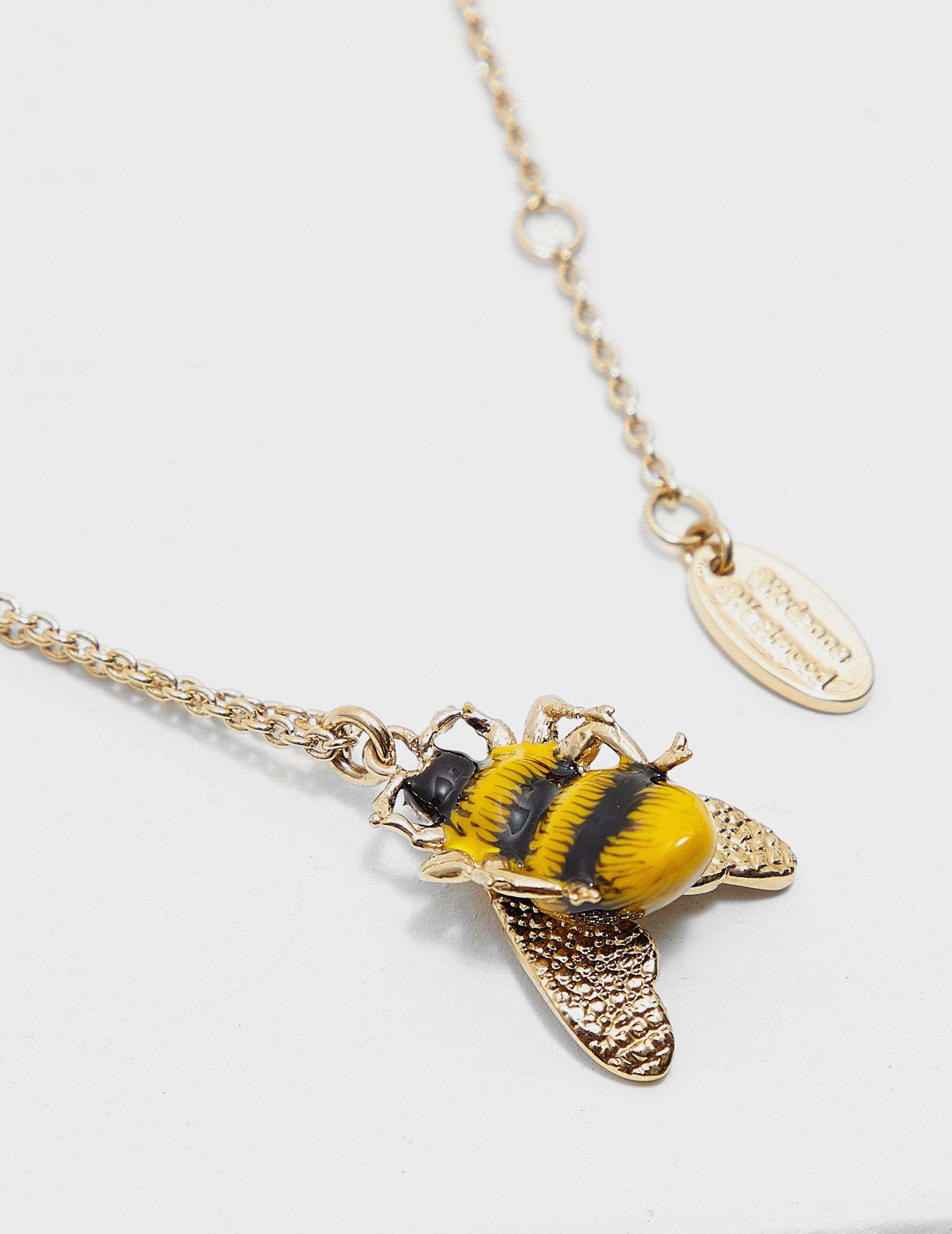 fullscreen merveilles lyst bee le yellow view des necklace marche gold gucci honey pendant jewelry