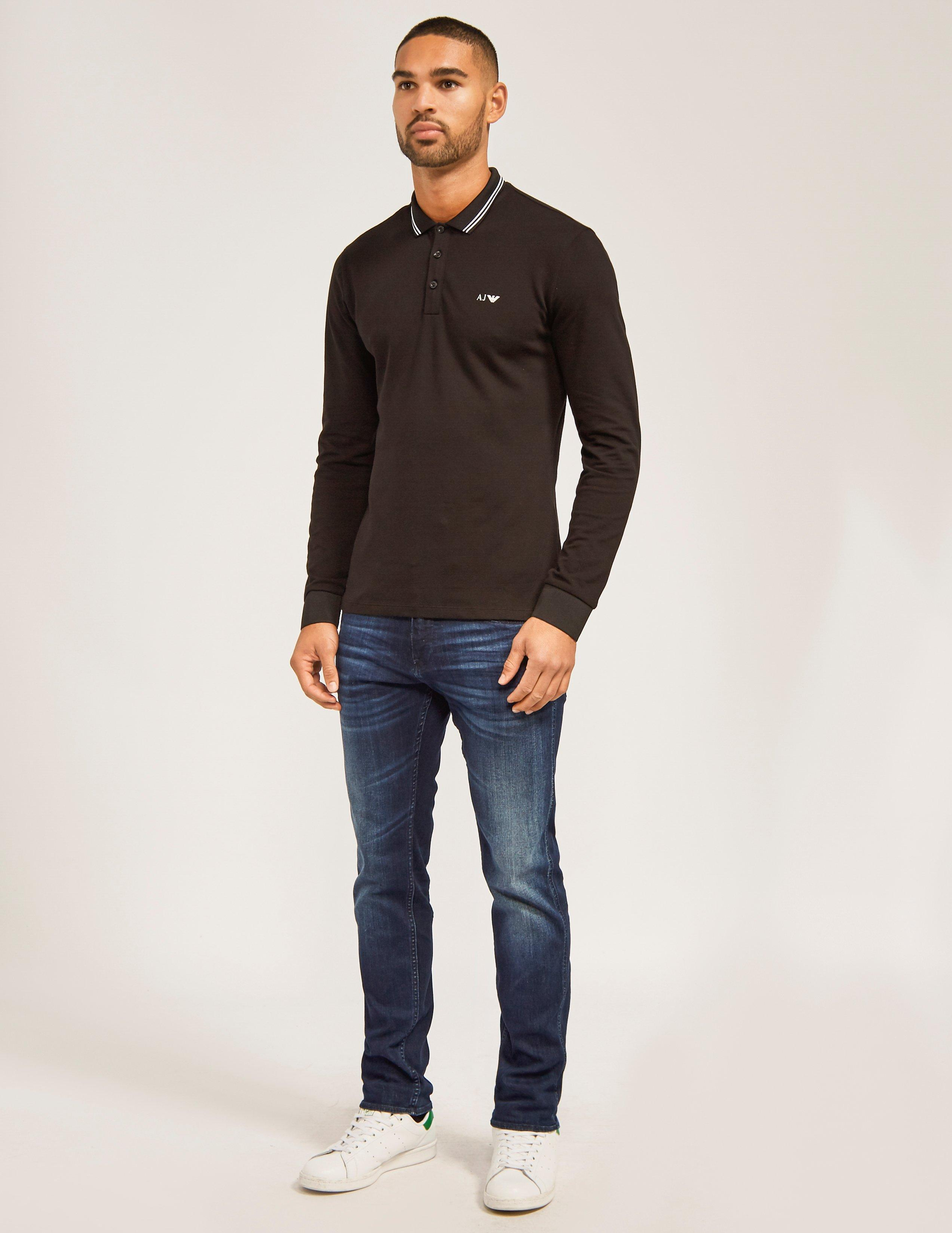 512a5e90d2 Lyst Armani Jeans Modern Fit Long Sleeve Polo Shirt In Black For Men