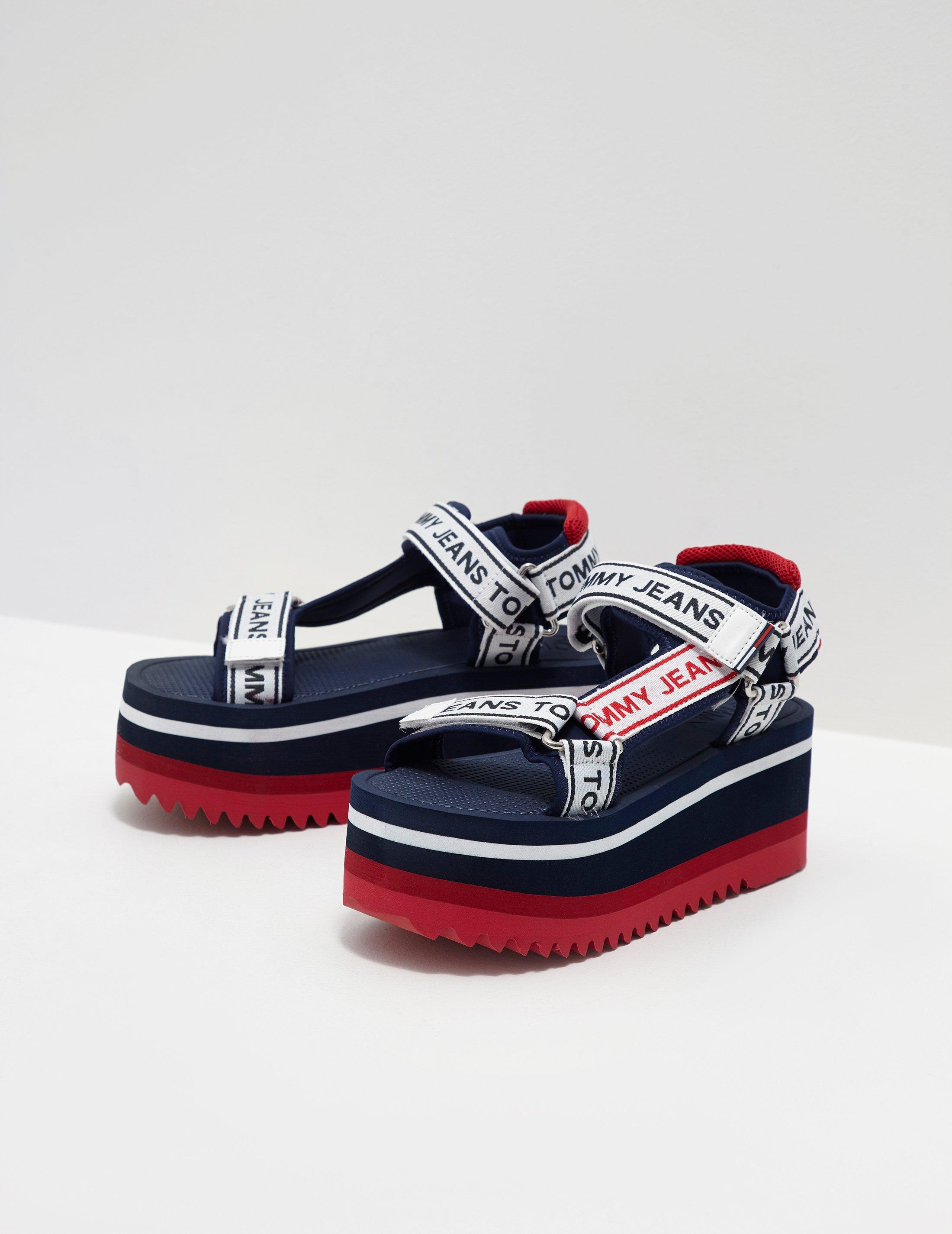 90809b95ff699d Tommy Hilfiger Womens Technical Platform Sandals Navy Blue in Blue ...