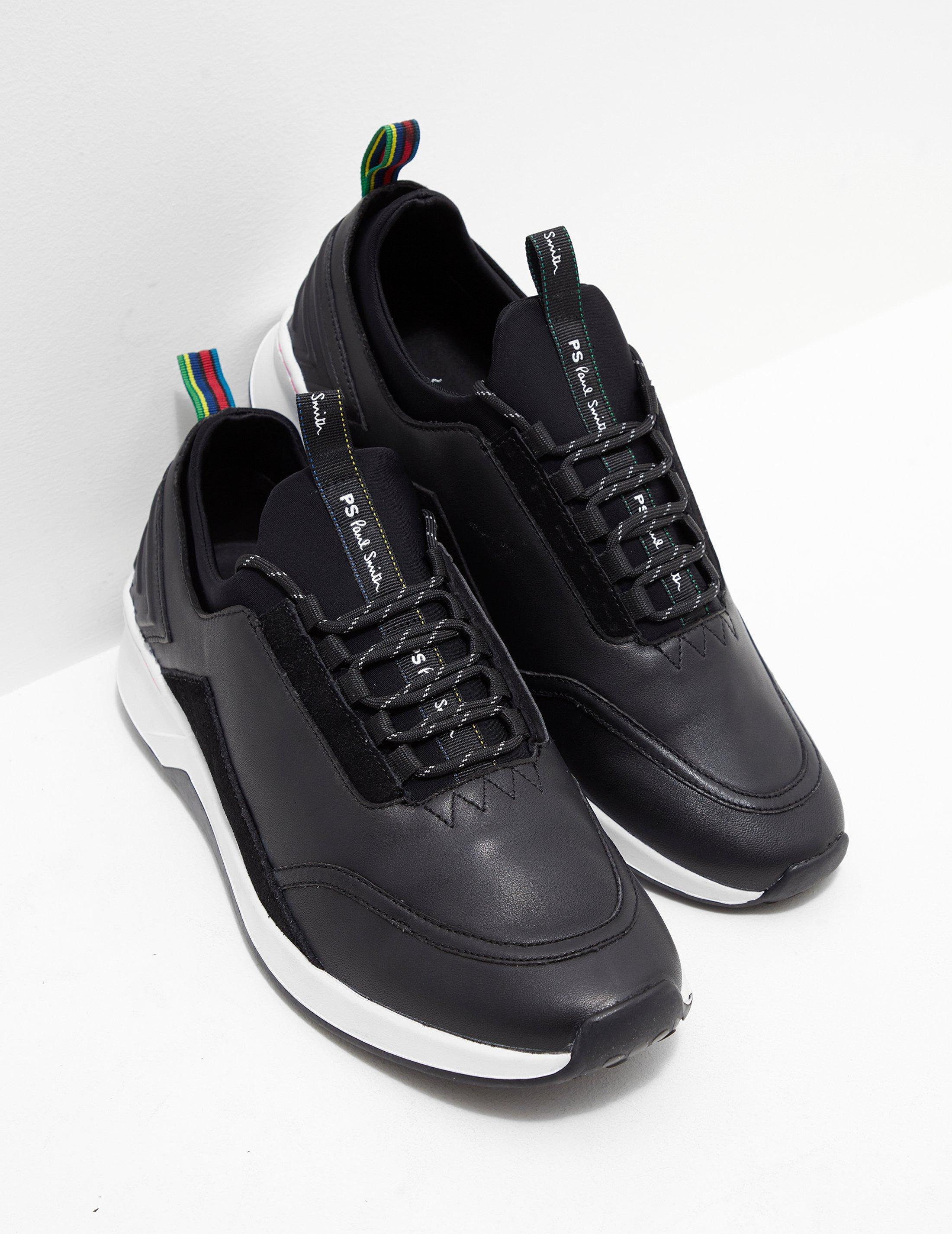 Mookie Leather Trainer In Black - Black Paul Smith K6358JHi