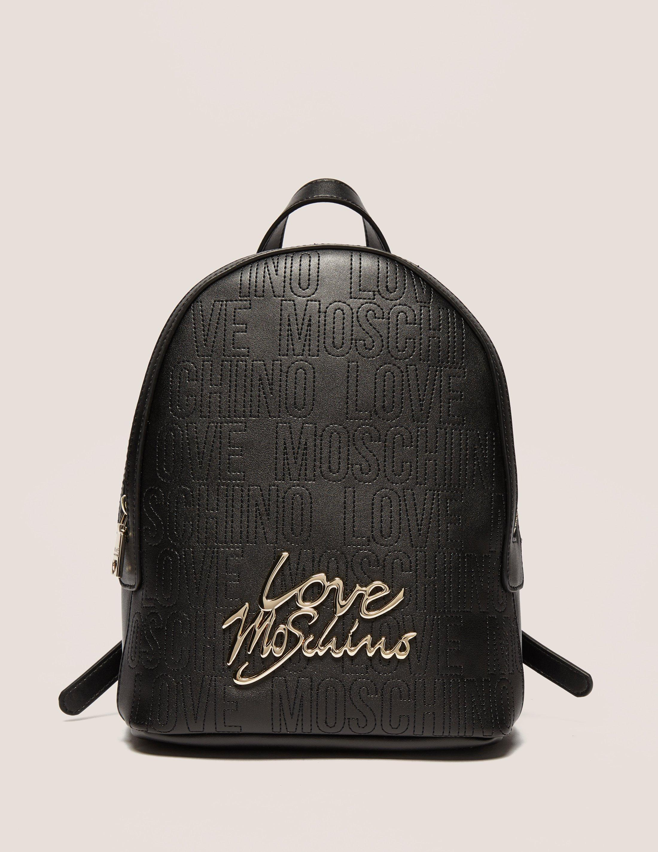 lyst love moschino micro logo backpack in black. Black Bedroom Furniture Sets. Home Design Ideas