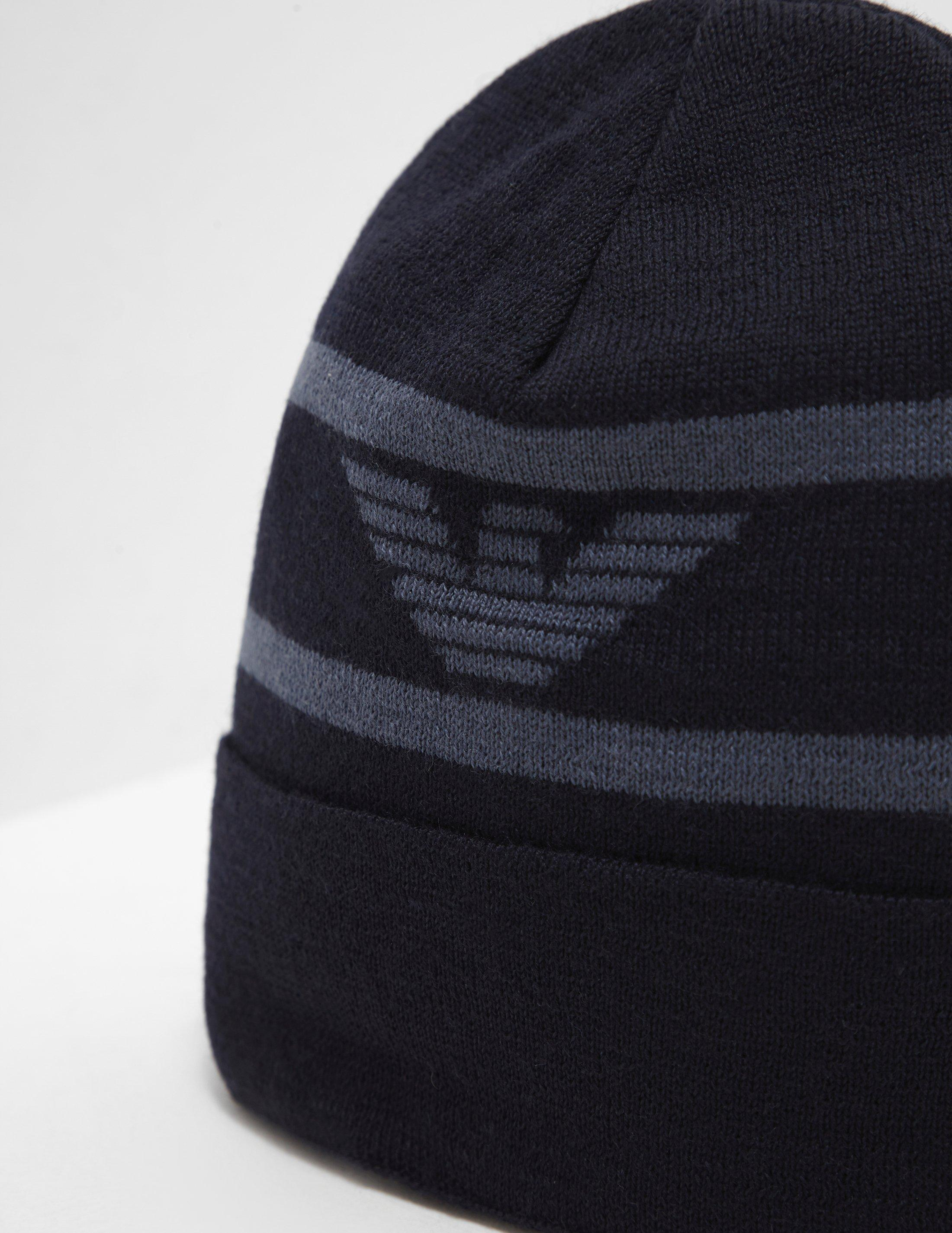 63382120f Emporio Armani Turn Up Ribbed Beanie in Blue for Men - Lyst