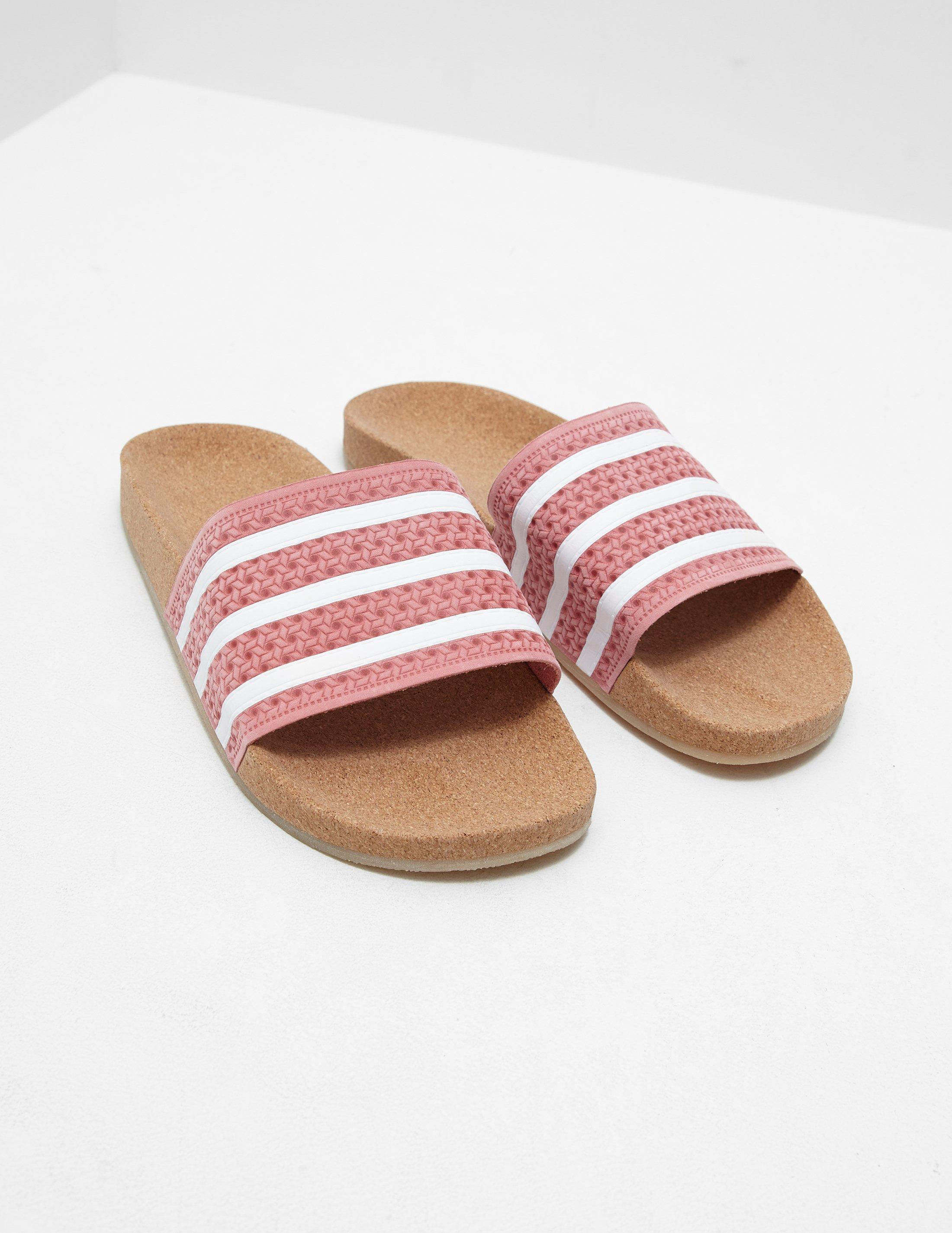 027cecfd4e86 adidas Originals Womens Adilette Cork Slides Pink in Pink - Lyst