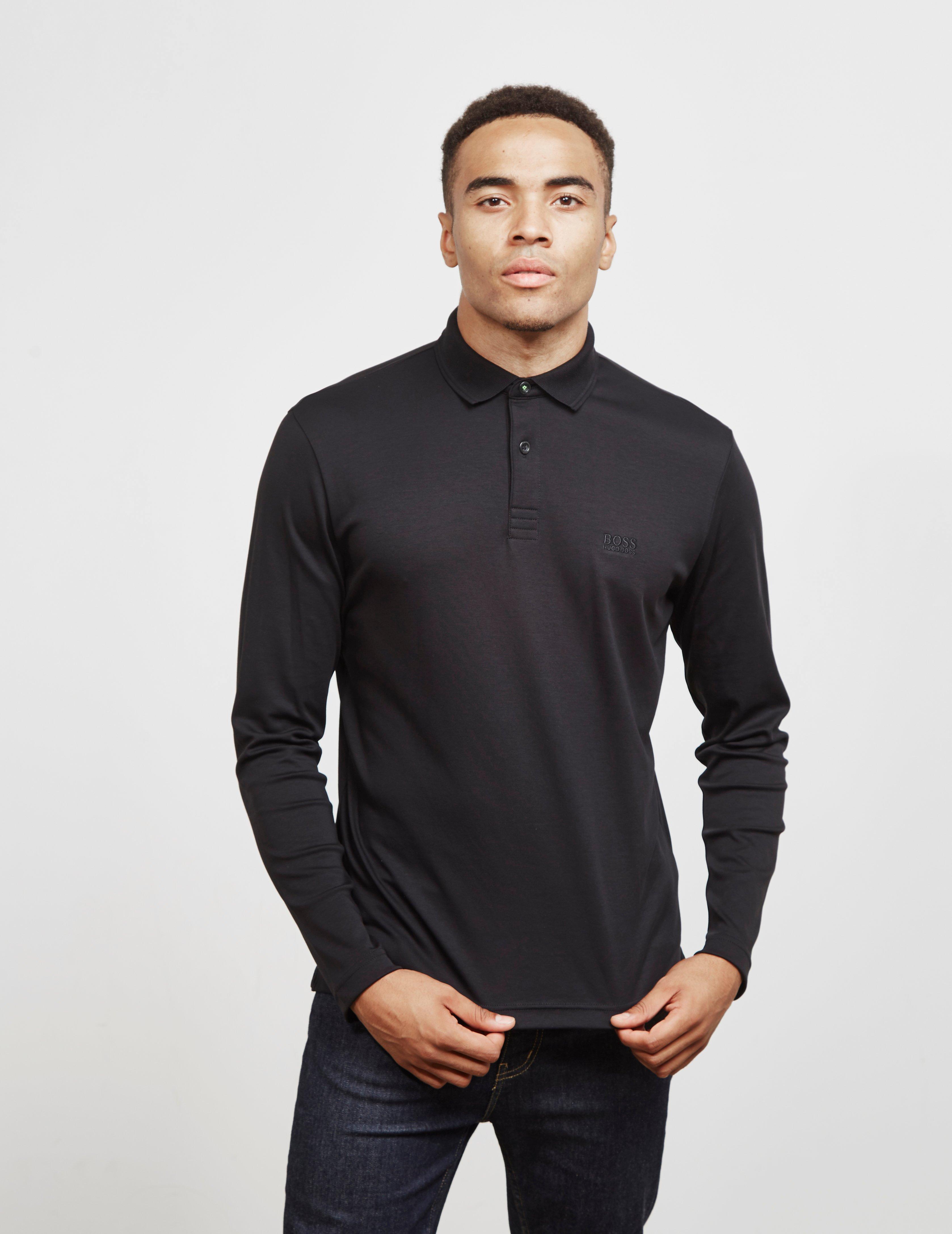 768a99ab BOSS Pirol Long Sleeve Polo Shirt Black in Black for Men - Lyst