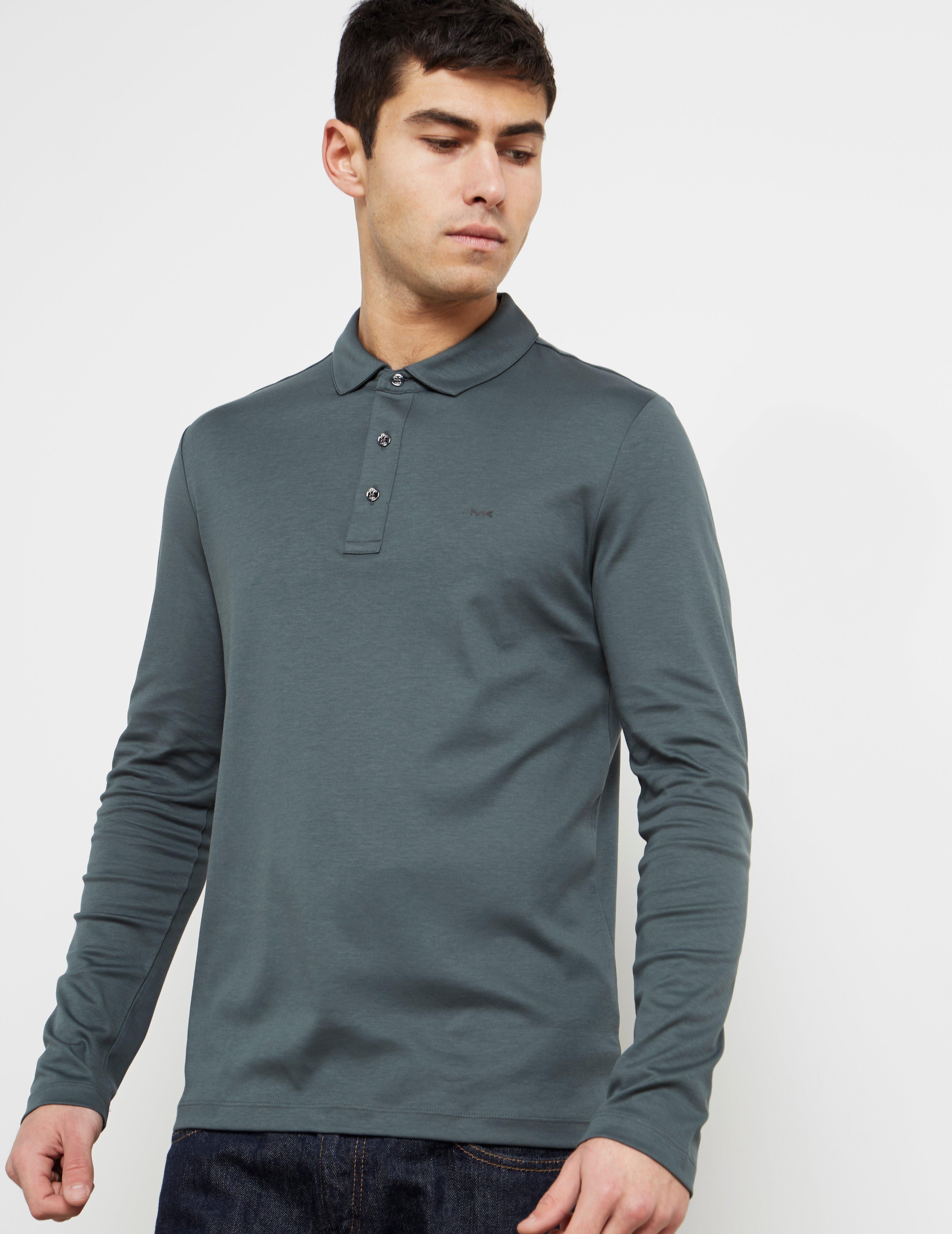 9eddc07c Lyst - Michael Kors Mens Sleek Long Sleeve Polo Shirt Green in Green ...