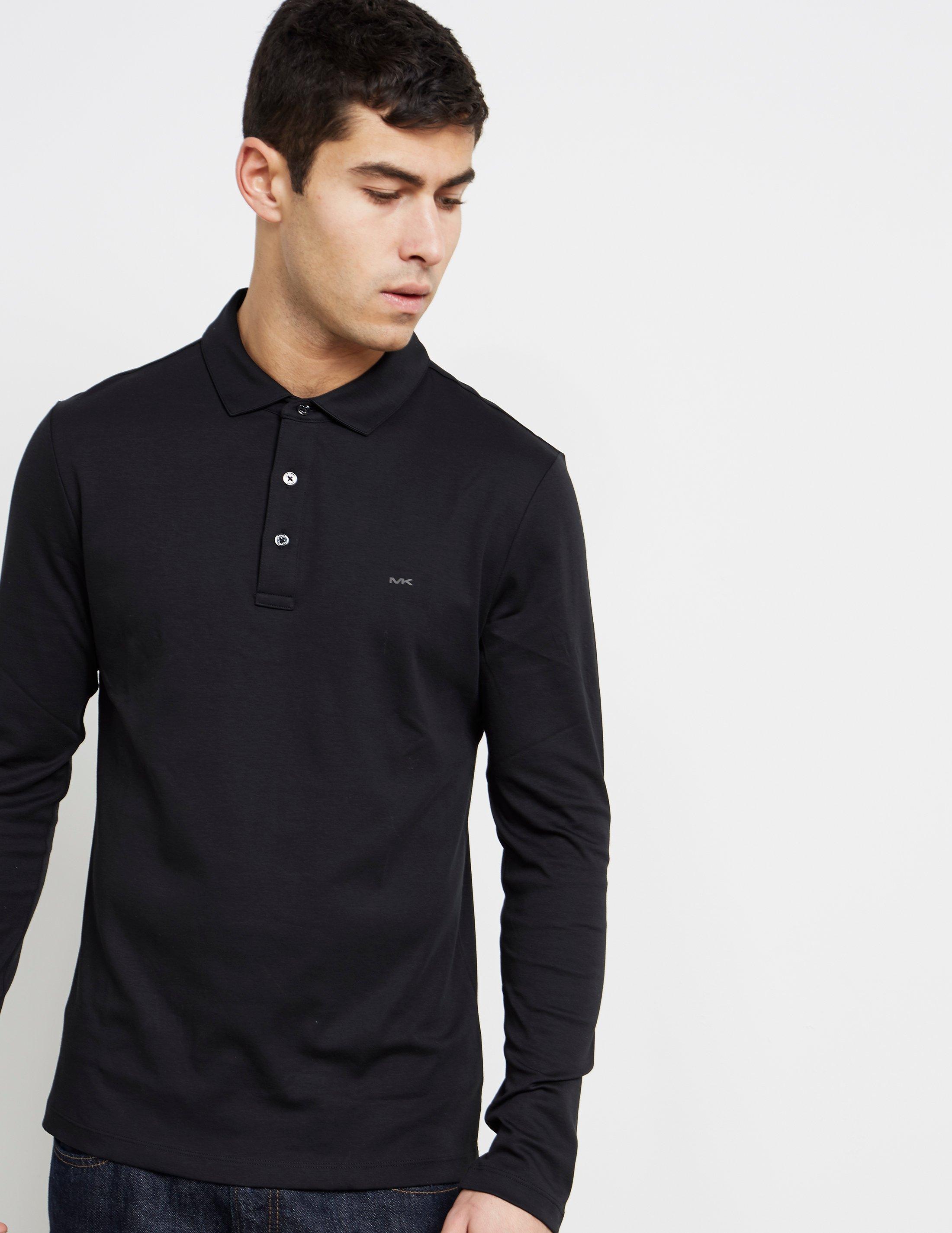 296f0788 Lyst - Michael Kors Sleek Long Sleeve Polo Shirt Black in Black for Men
