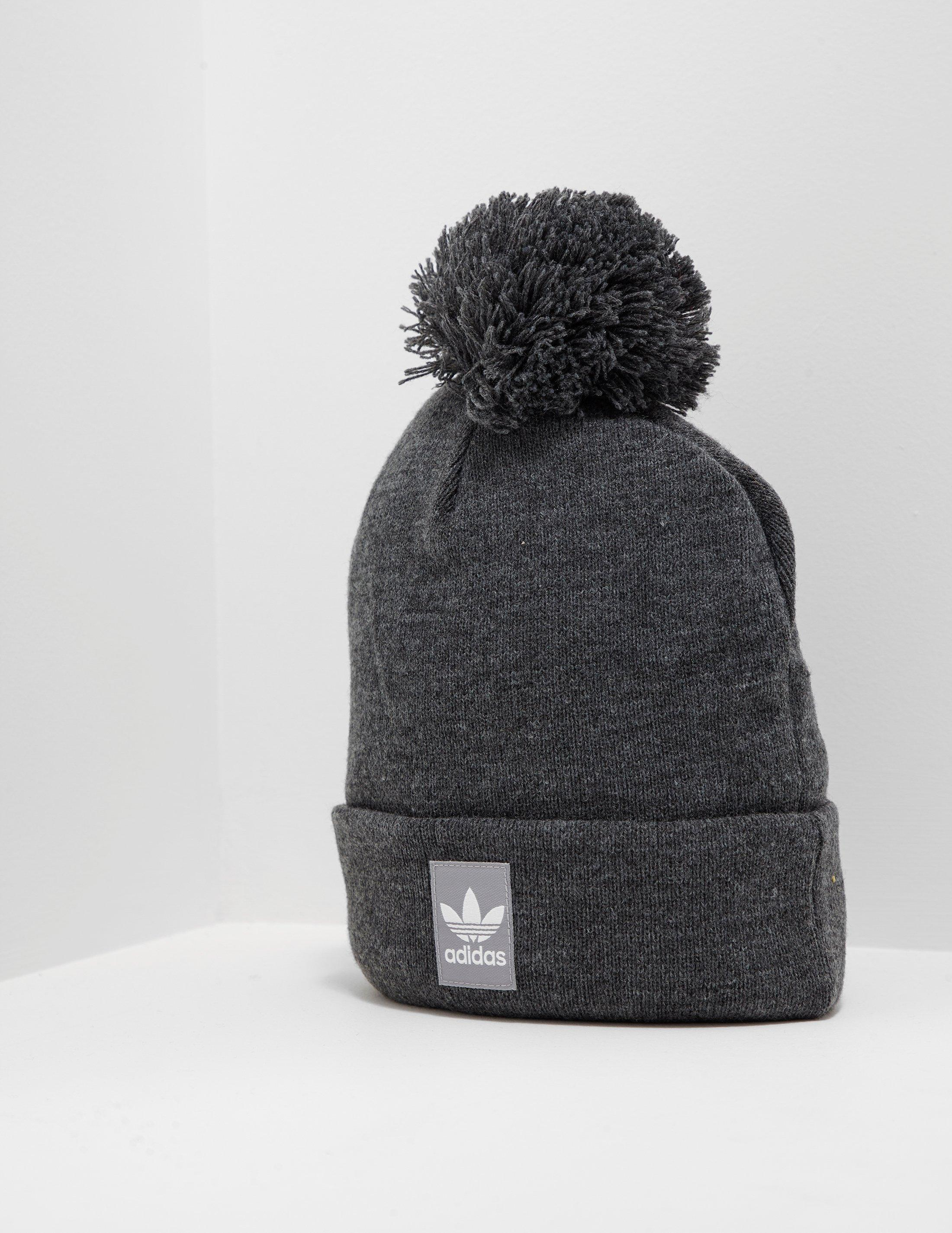 23bffb9d470 ... top quality adidas originals mens logo bobble hat charcoal in gray for men  lyst 16b19 268ed