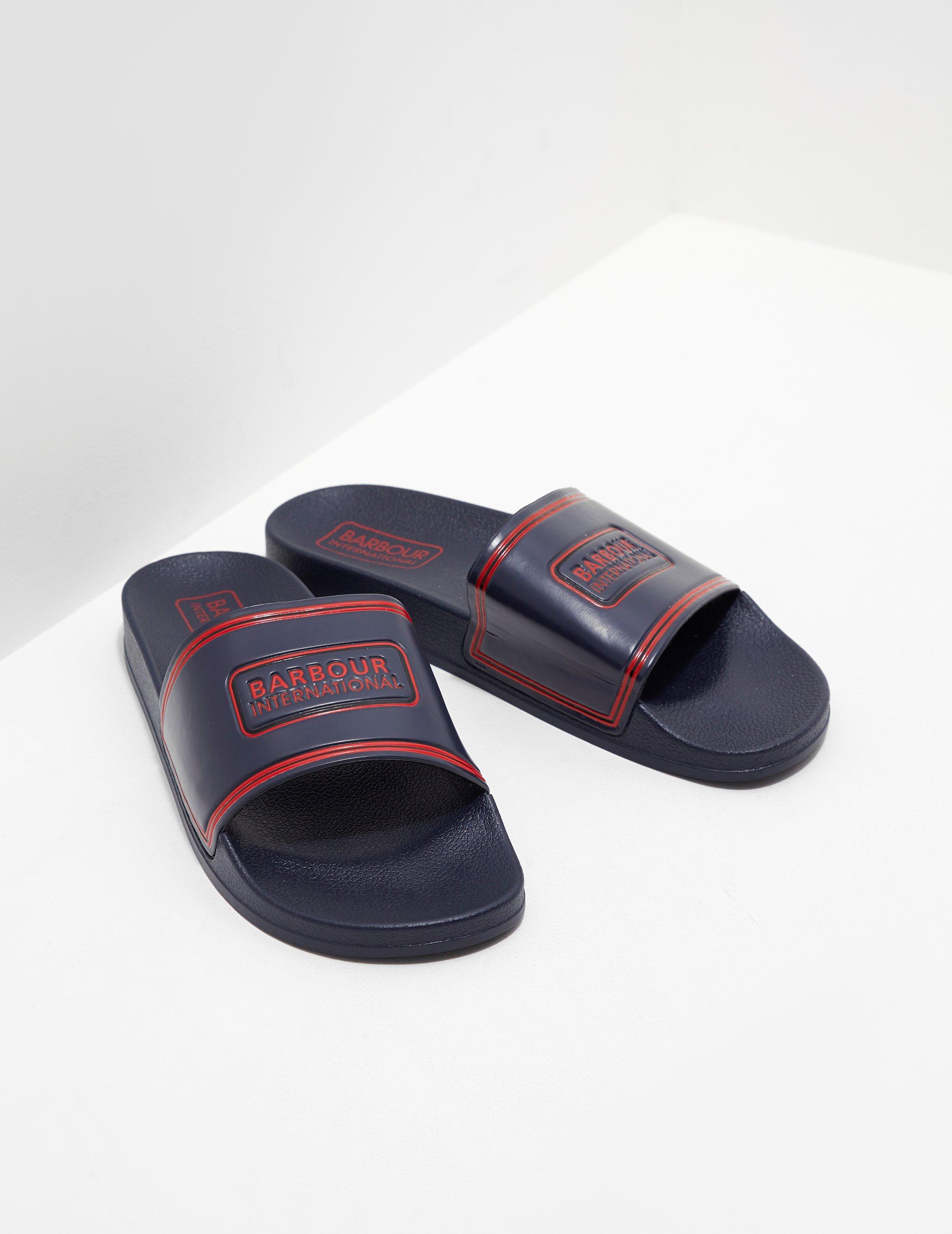 6970b2524469 Barbour Mens International Logo Slides Navy navy in Blue for Men - Lyst