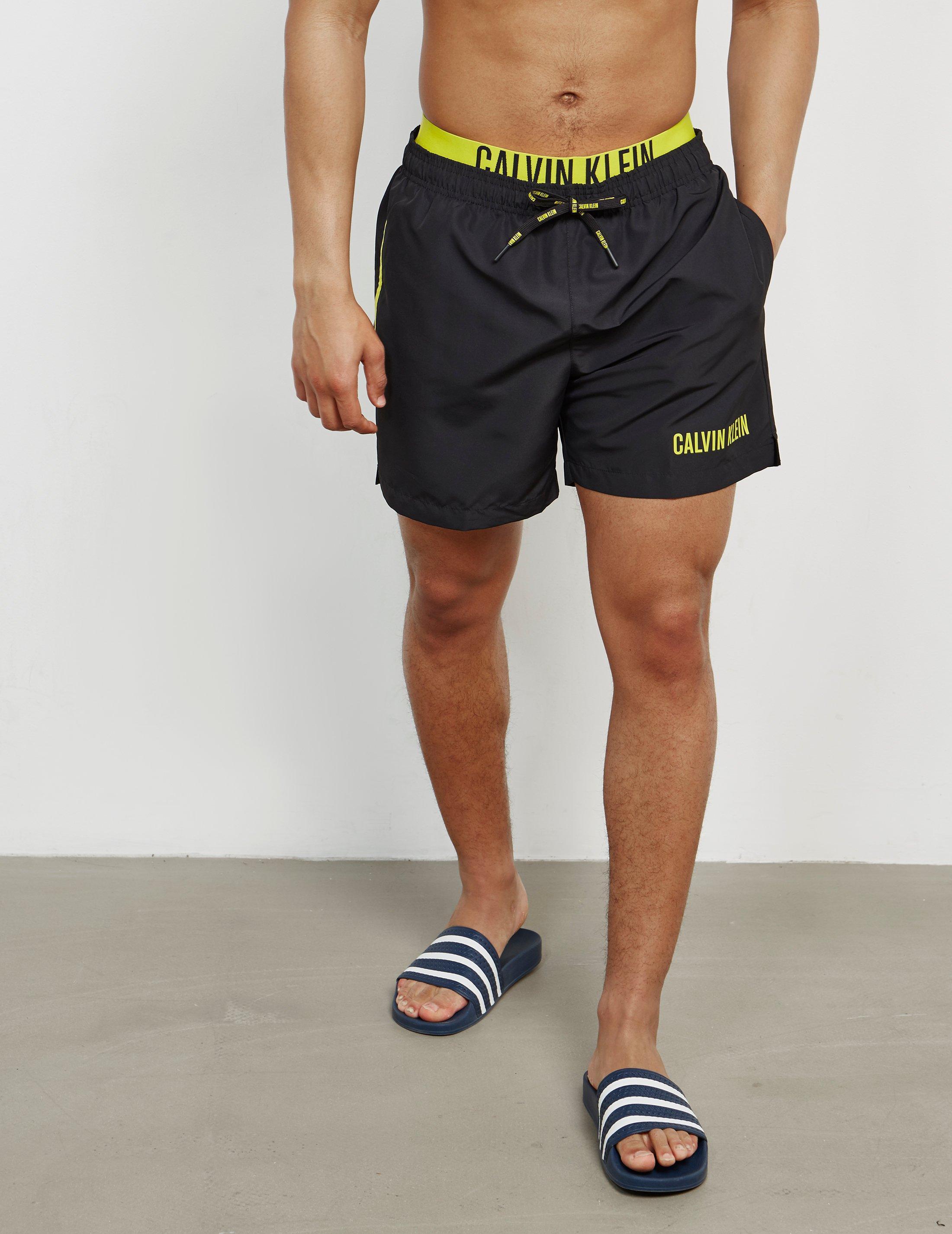 8e65c6c013 Calvin Klein Mens Double Waistband Swim Shorts Black in Black for ...