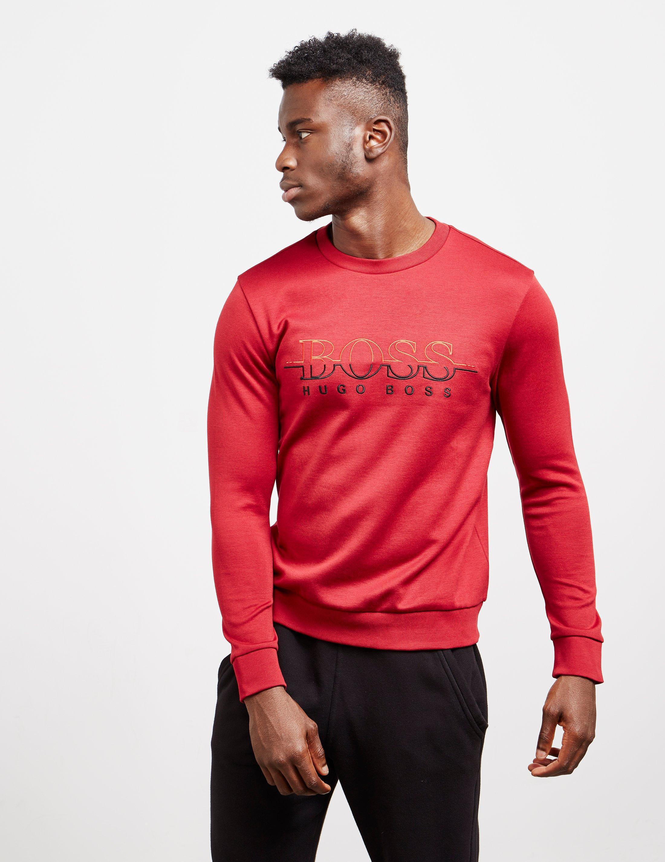 d36260b47 Boss Mens Salbo Crew Neck Sweatshirt Red in Red for Men - Lyst