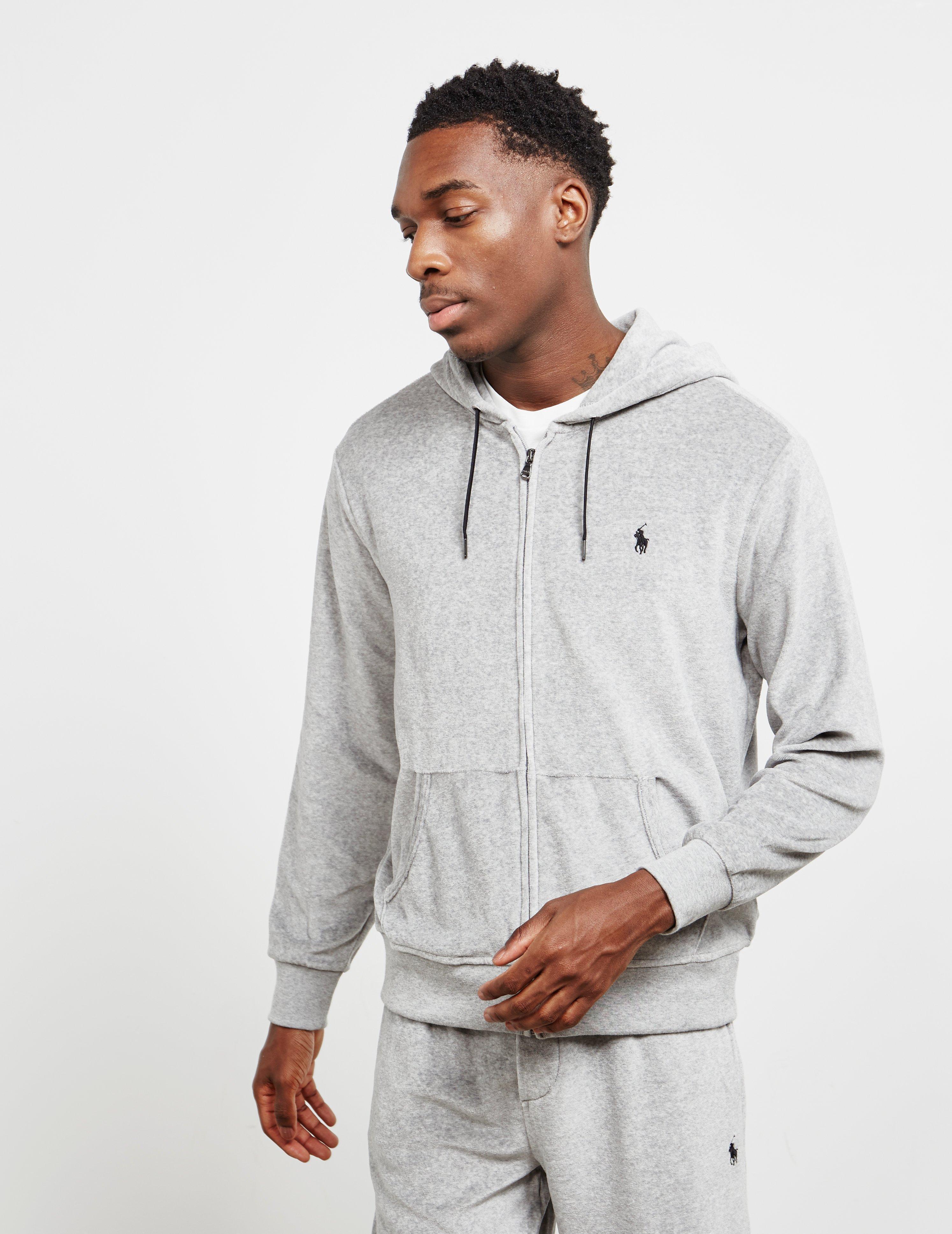 ef2557531 Polo Ralph Lauren Velour Full Zip Hoodie Grey in Gray for Men - Save 32% -  Lyst