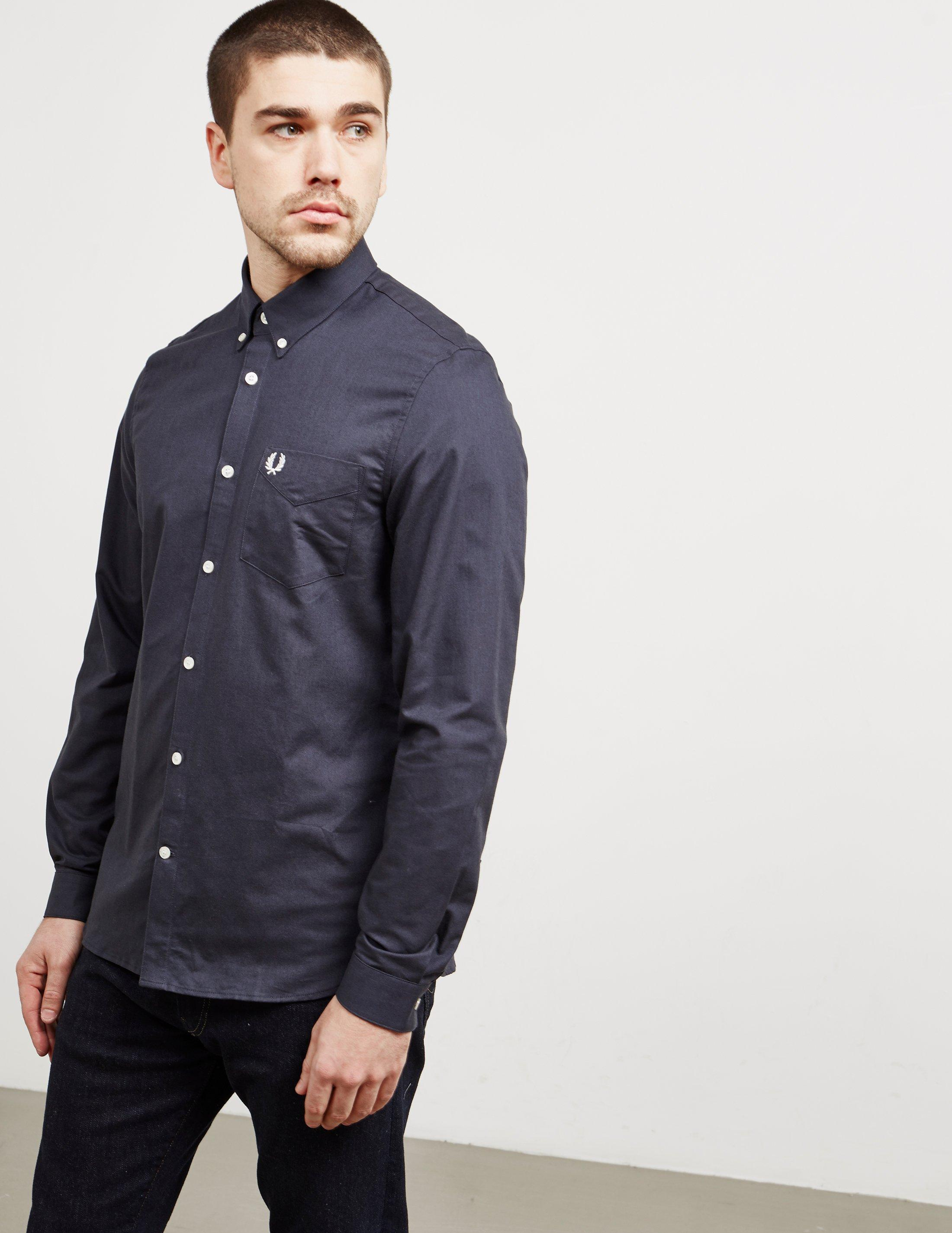 a3a1acba Fred Perry Mens Oxford Long Sleeve Shirt Black in Black for Men - Lyst