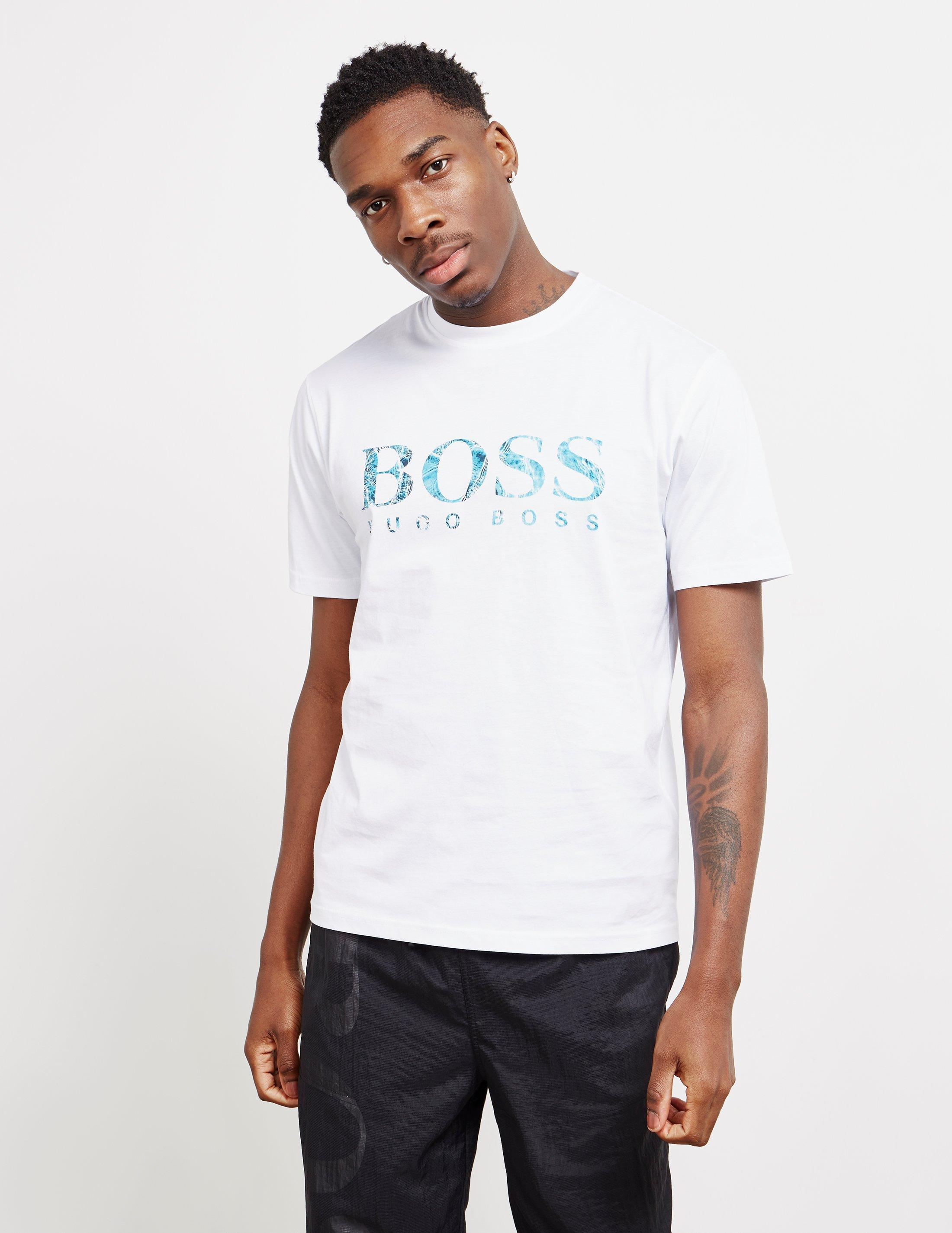 55f8c6a9 BOSS - Mens Teecher Logo Short Sleeve T-shirt White for Men - Lyst. View  fullscreen