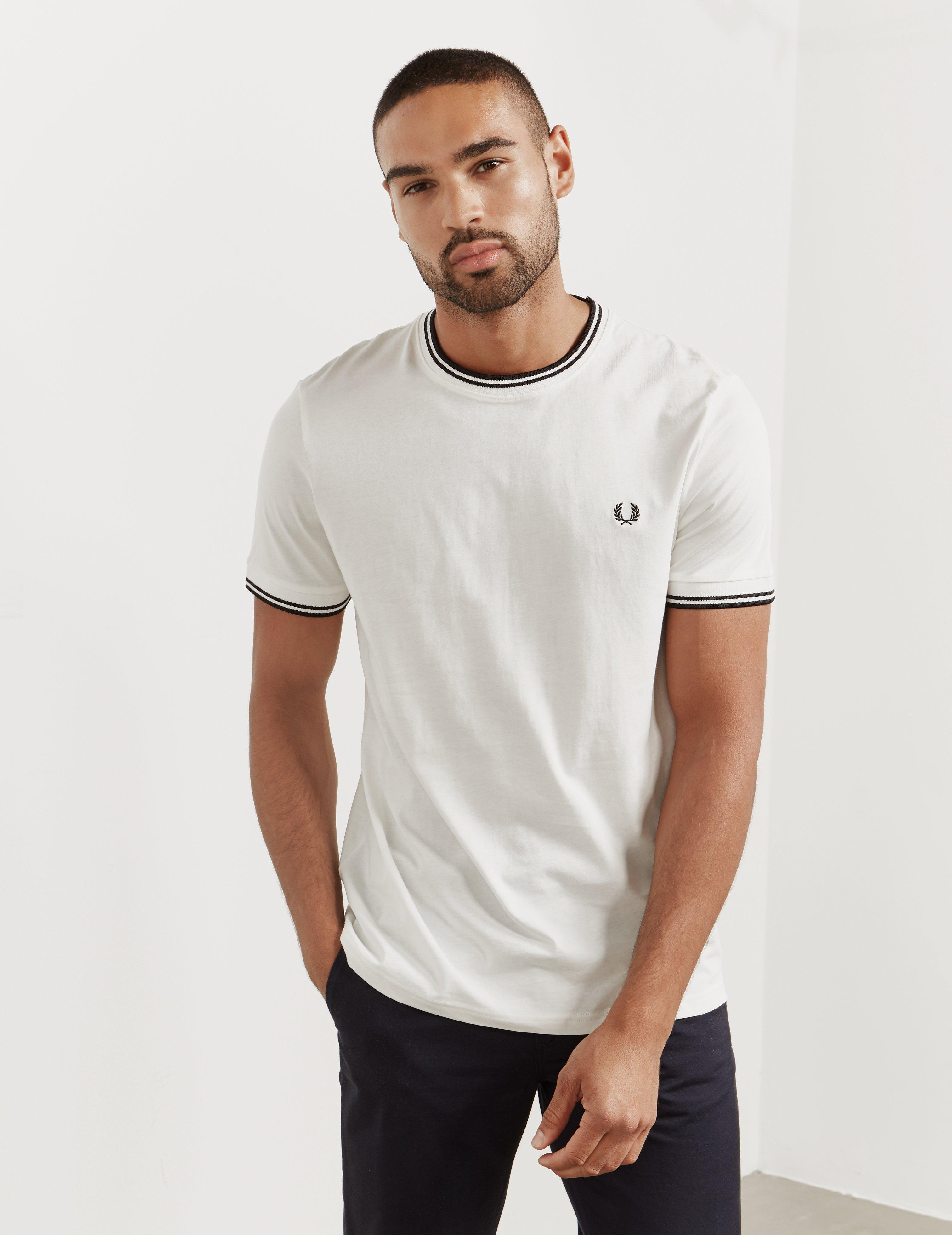 01b5fb00f Fred Perry Mens Twin Tipped Short Sleeve T-shirt White in White for ...