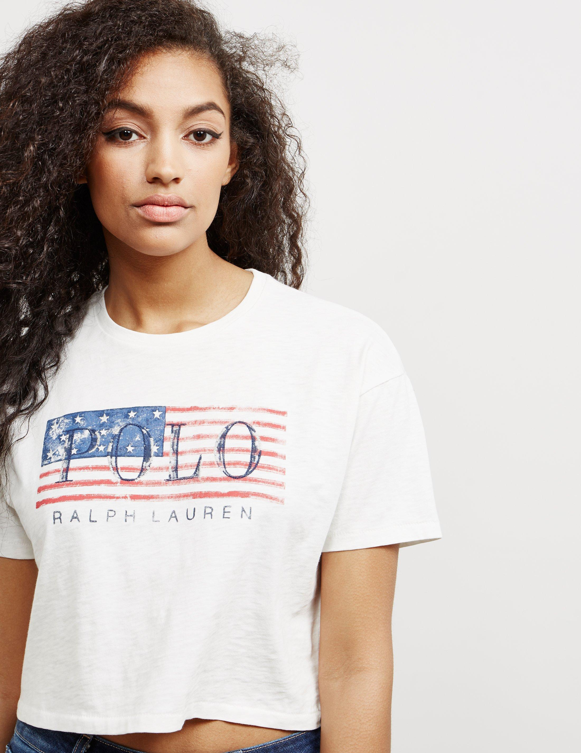 708812ffe0a ... best price polo ralph lauren womens flag short sleeve crop t shirt white  in a1b7d ff26d