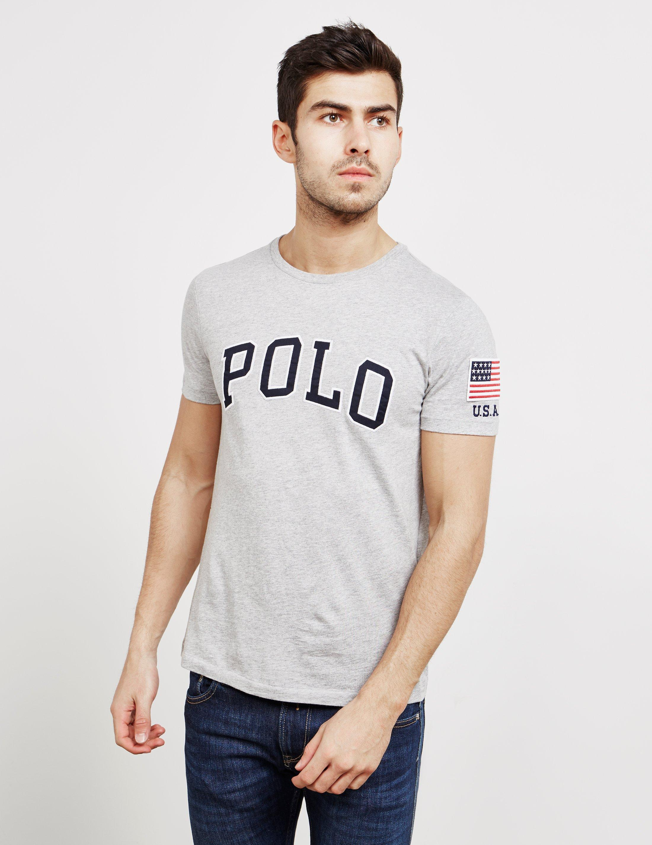 edb3094af1a5 Lyst - Polo Ralph Lauren Usa Logo Crew Tee in Gray for Men - Save 42%