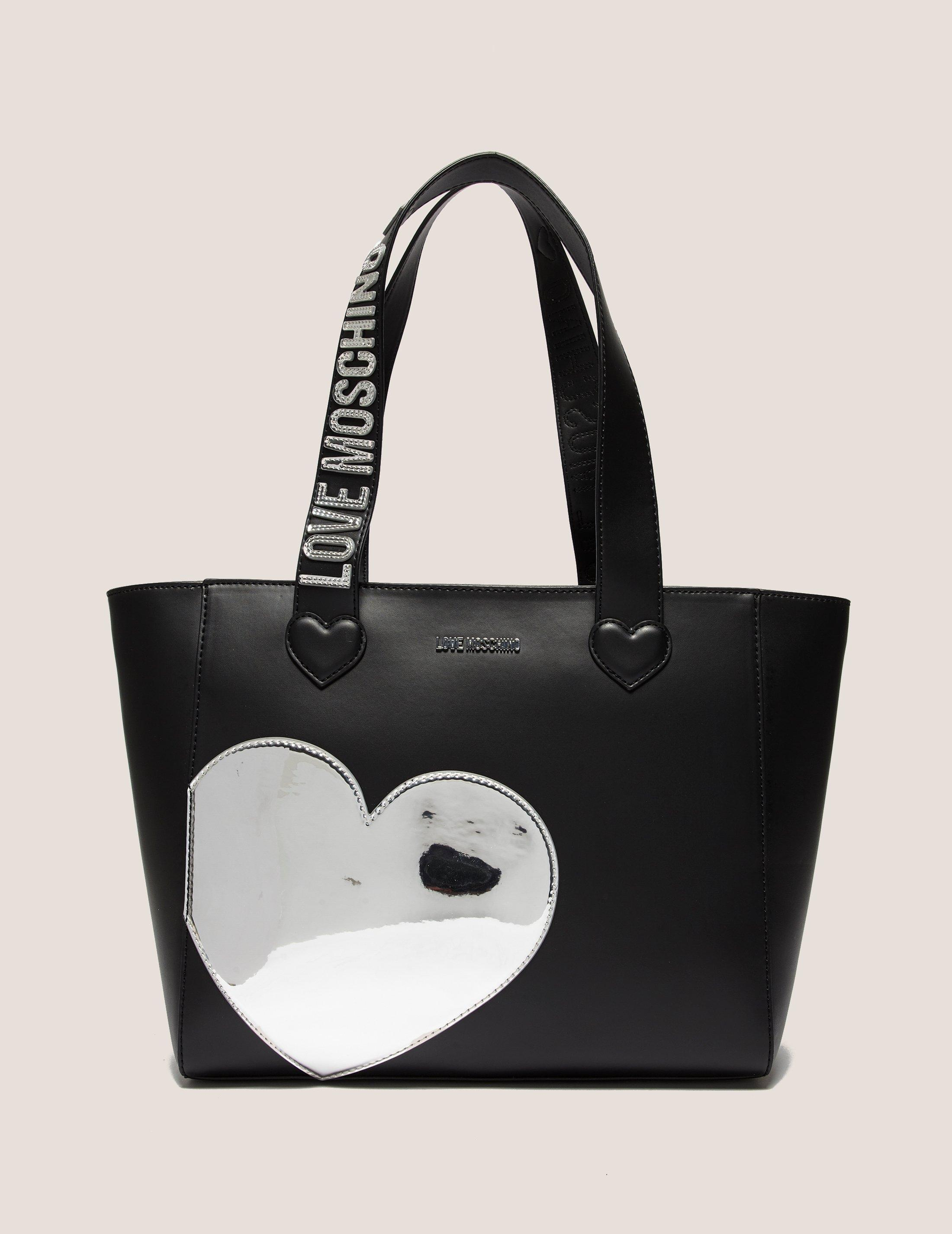 love moschino silver heart shopper bag in black lyst. Black Bedroom Furniture Sets. Home Design Ideas