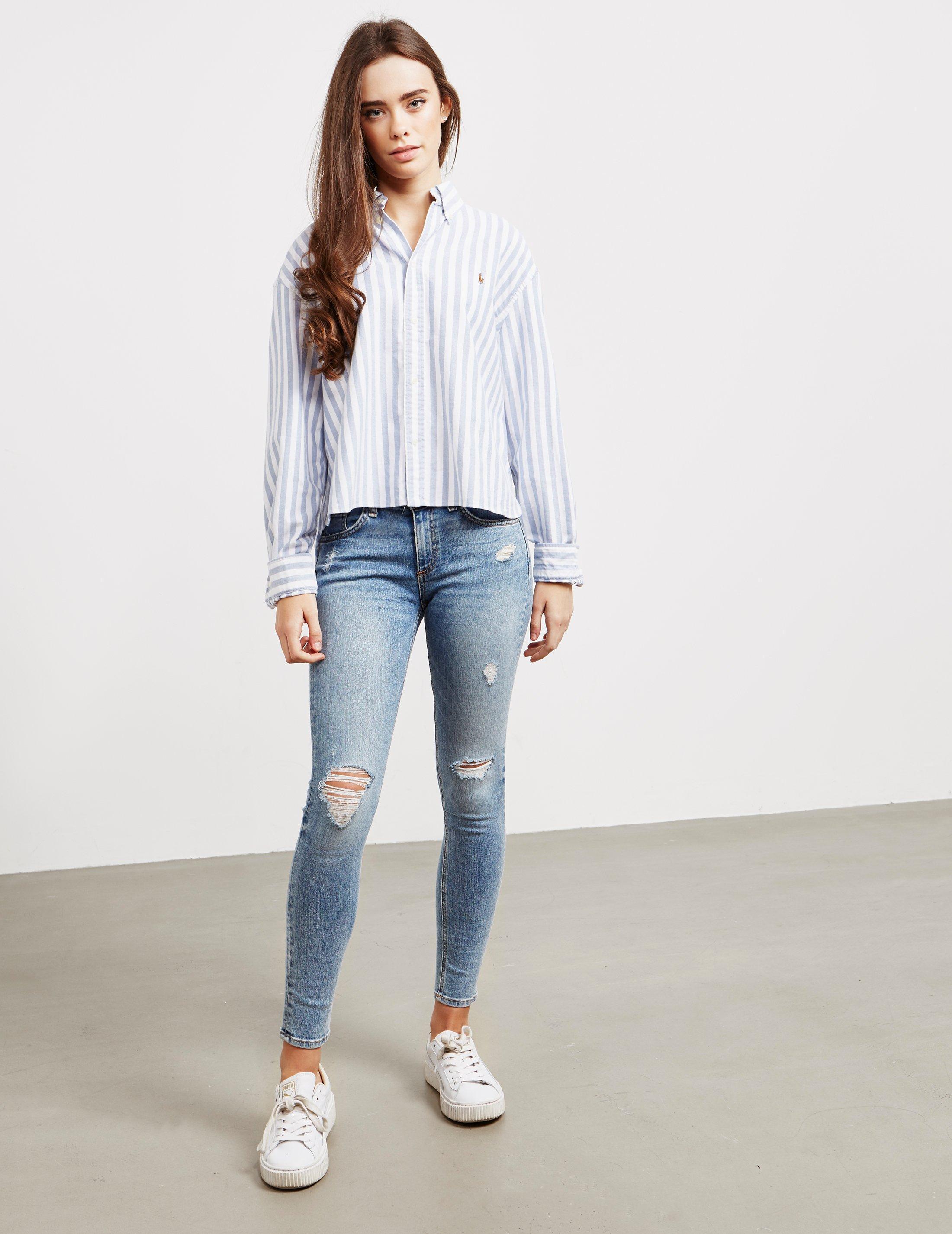47ddc5d511b Lyst - Polo Ralph Lauren Crop Long Sleeve Shirt Blue in Blue