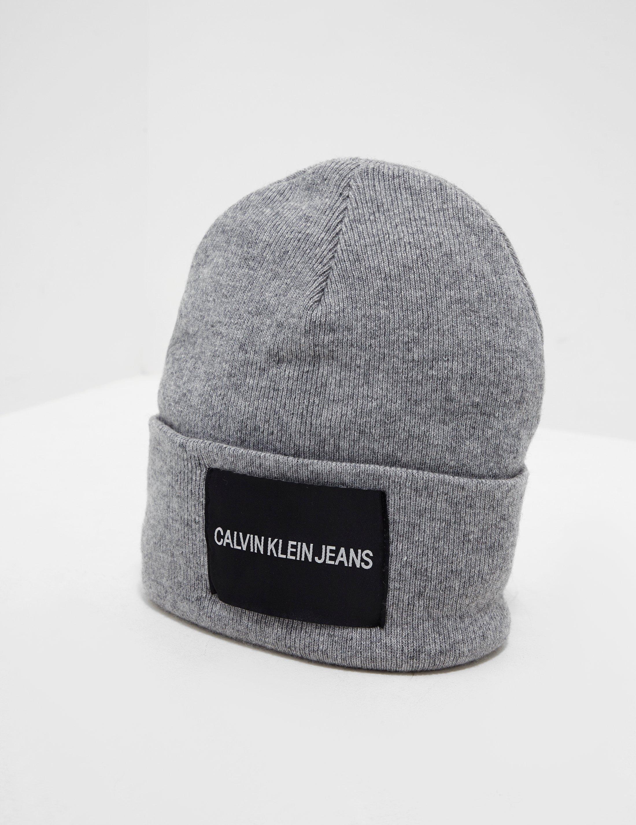 9bd8cf6c9b40 Calvin Klein Patch Beanie Grey in Gray for Men - Lyst