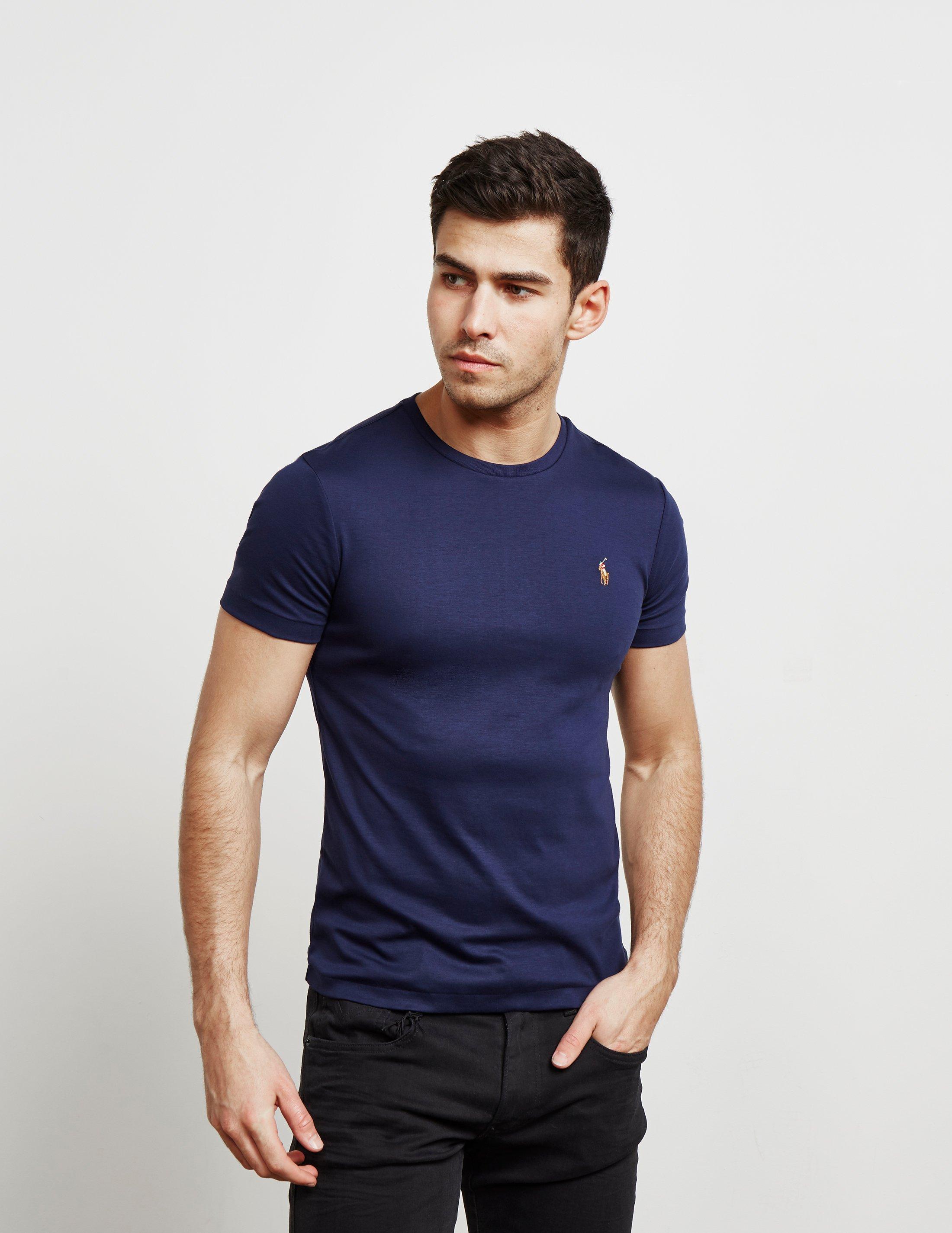 b77e9730 Lyst - Polo Ralph Lauren Mens Pima Short Sleeve T-shirt Navy Blue in ...