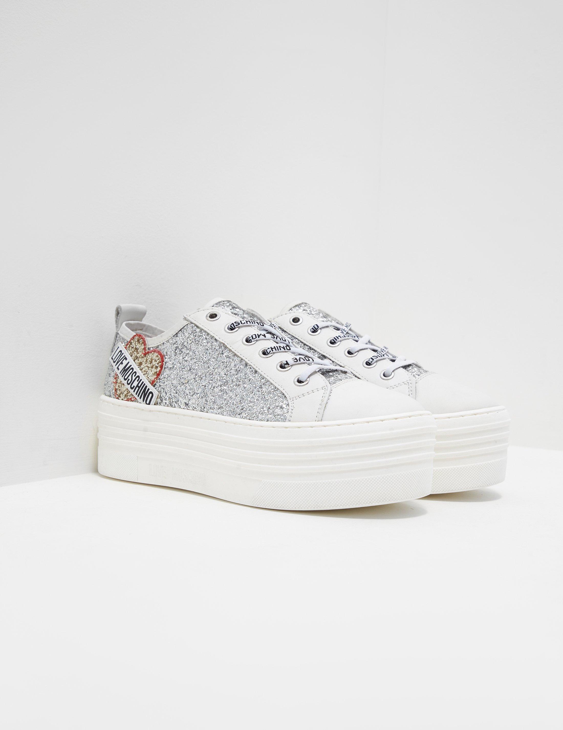 789226fa8aa Love Moschino Glitter Platform Sneaker (silver) Women s Lace Up ...