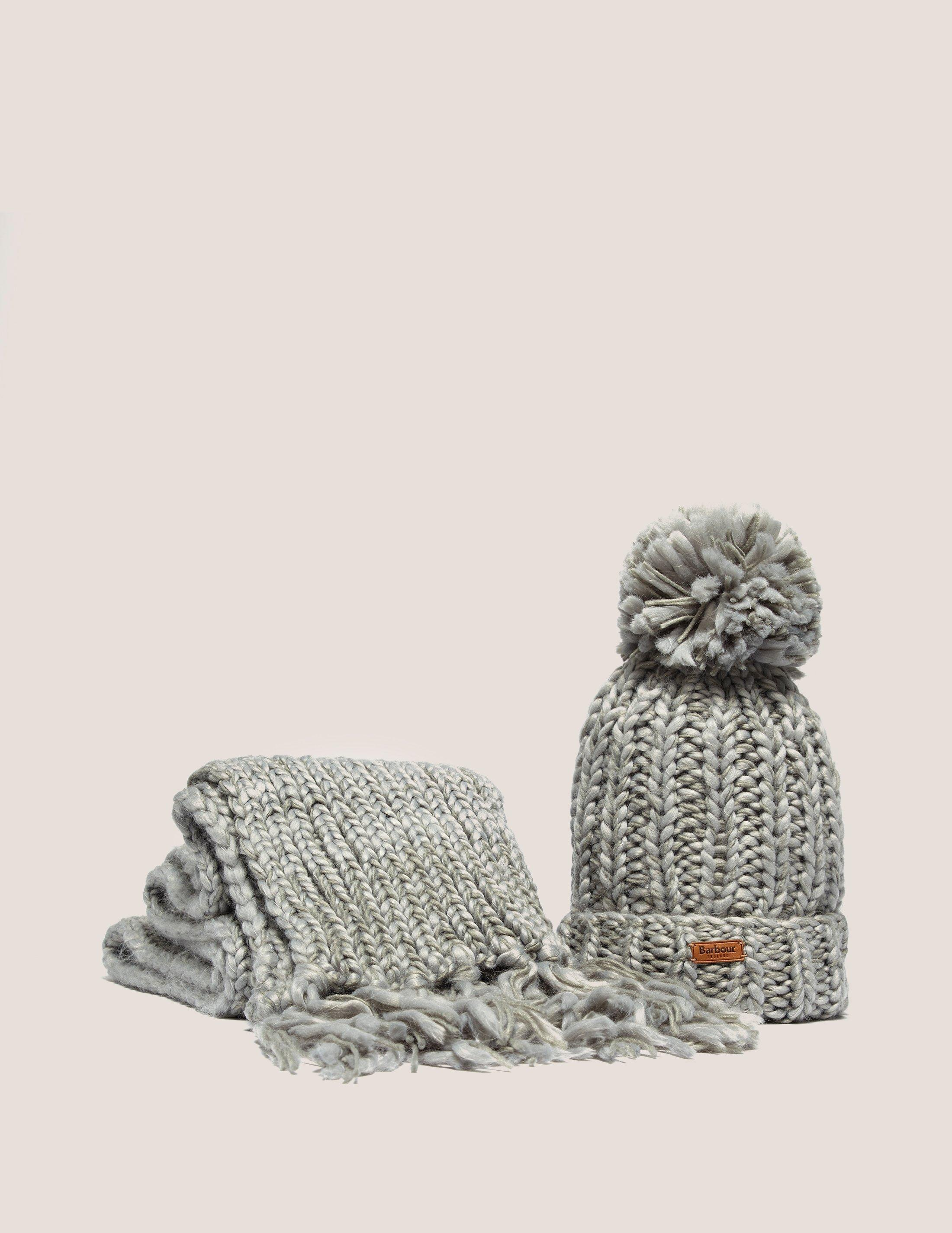 Lyst - Barbour Womens Chunky Hat And Scarf Set Grey in Gray ab647633b65