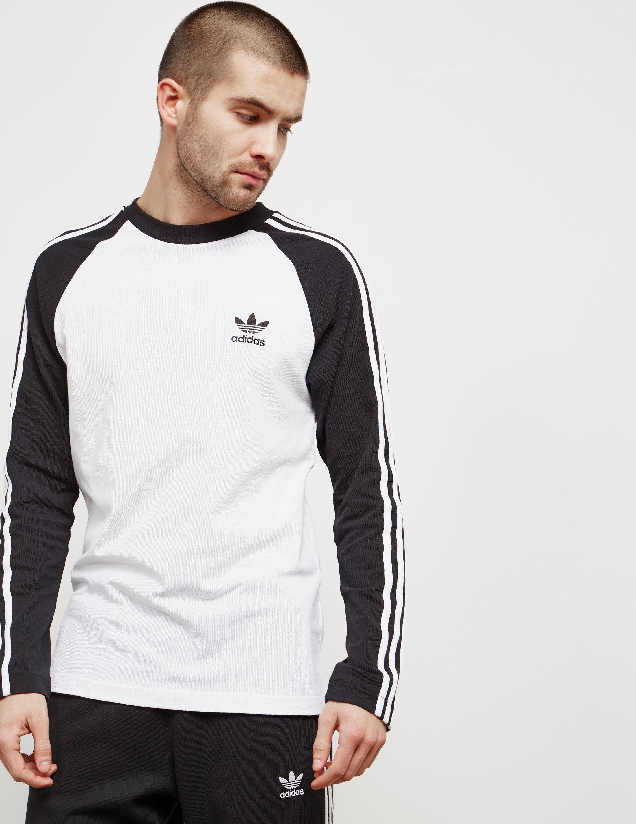 b0503fd4049d Lyst - adidas Originals Mens 3-stripe Long Sleeved T-shirt White ...