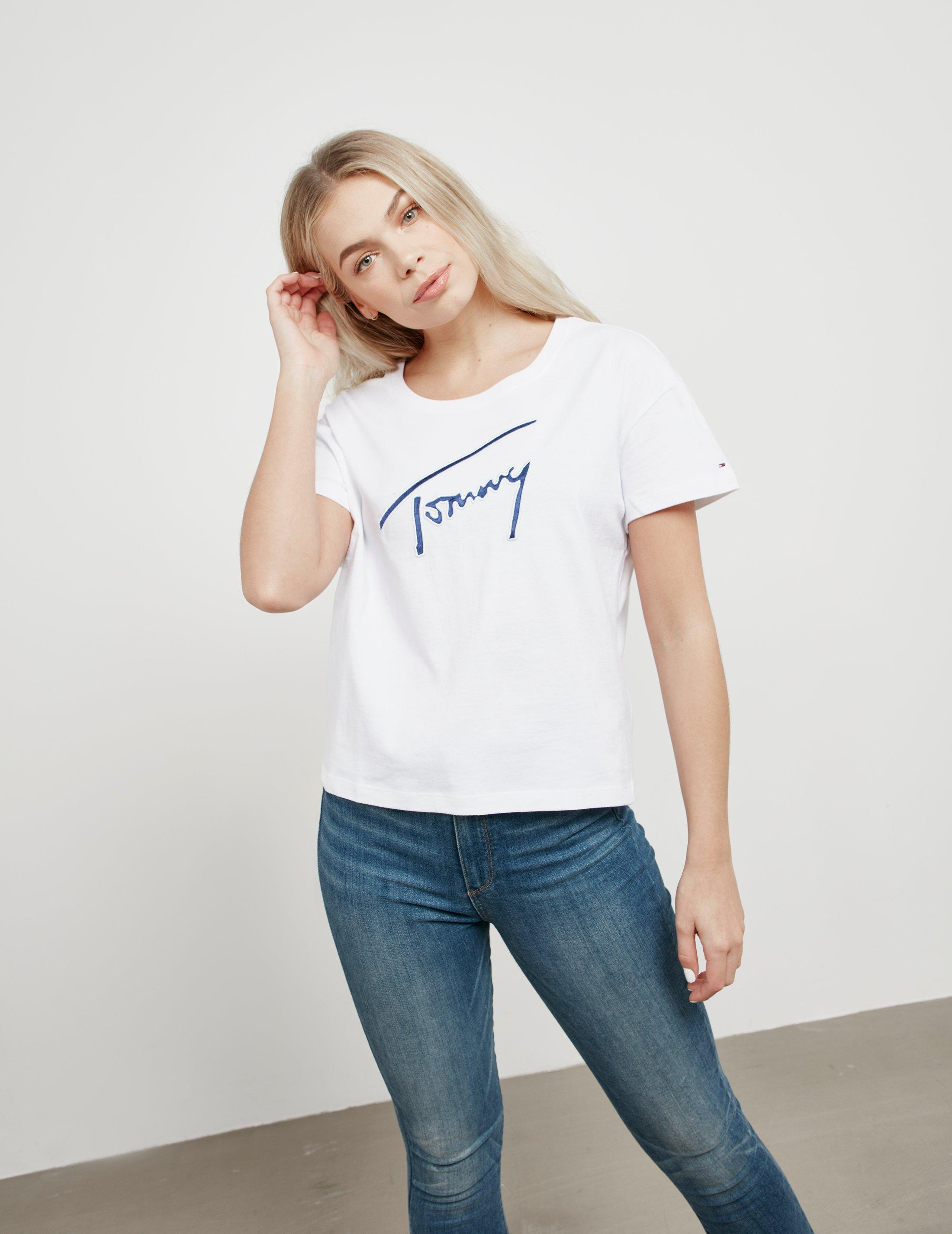 483fdcc15 Lyst - Tommy Hilfiger Signature Satin Short Sleeve T-shirt White in ...