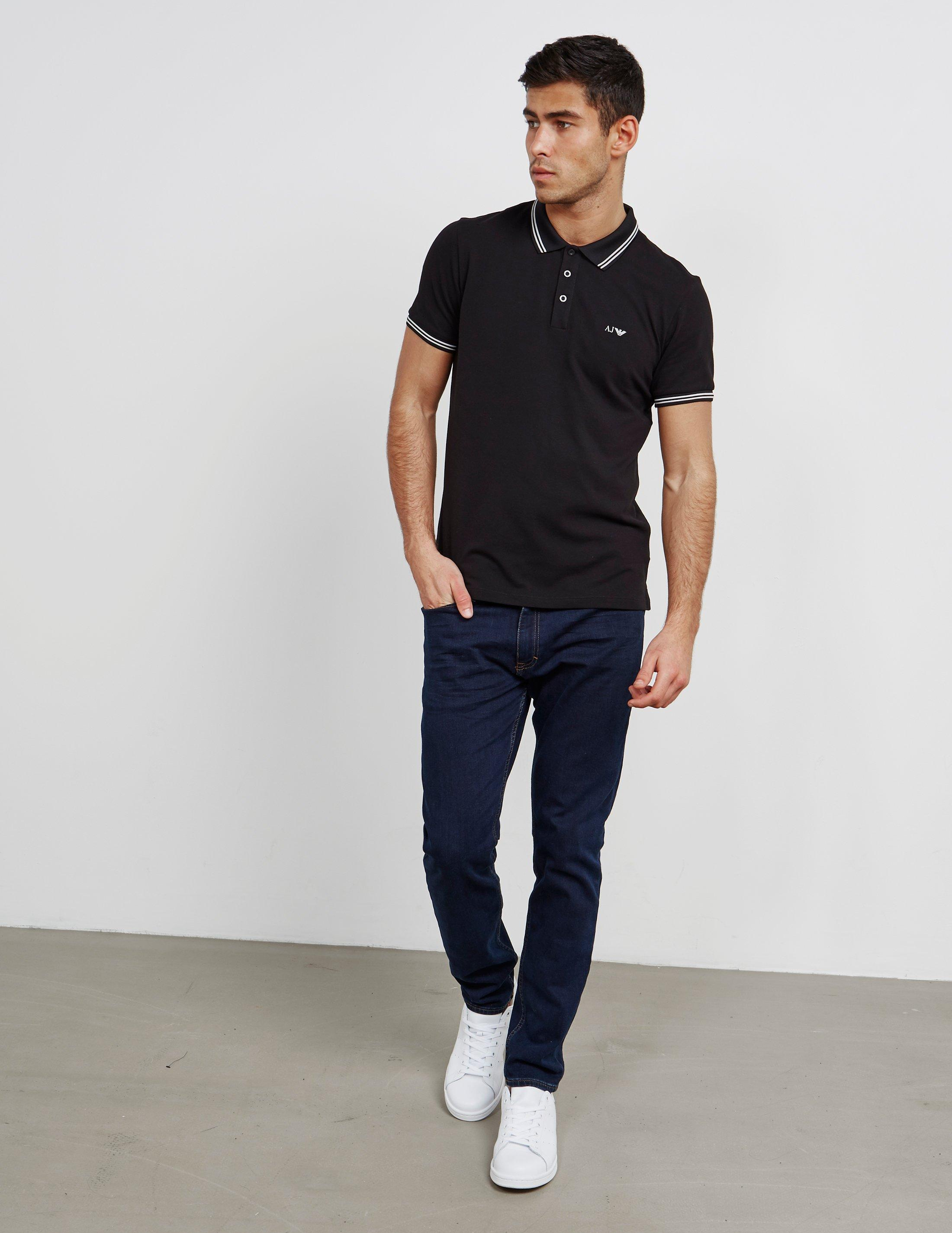 cd235989 Armani Jeans Mens Twin Tipped Short Sleeve Polo Shirt Black in Black ...