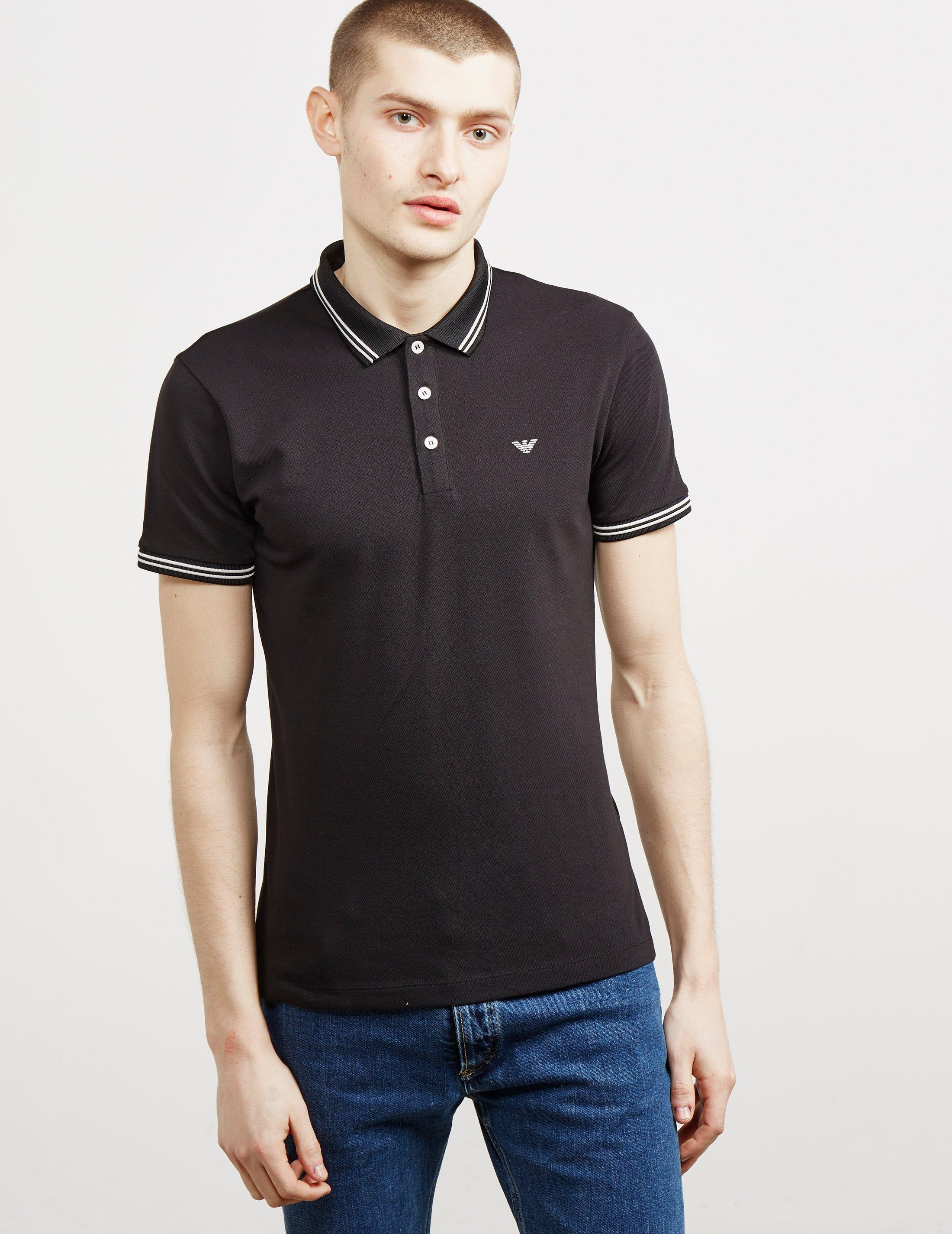 25f3931e Lyst - Emporio Armani Basic Tipped Short Sleeve Polo Shirt Black in ...