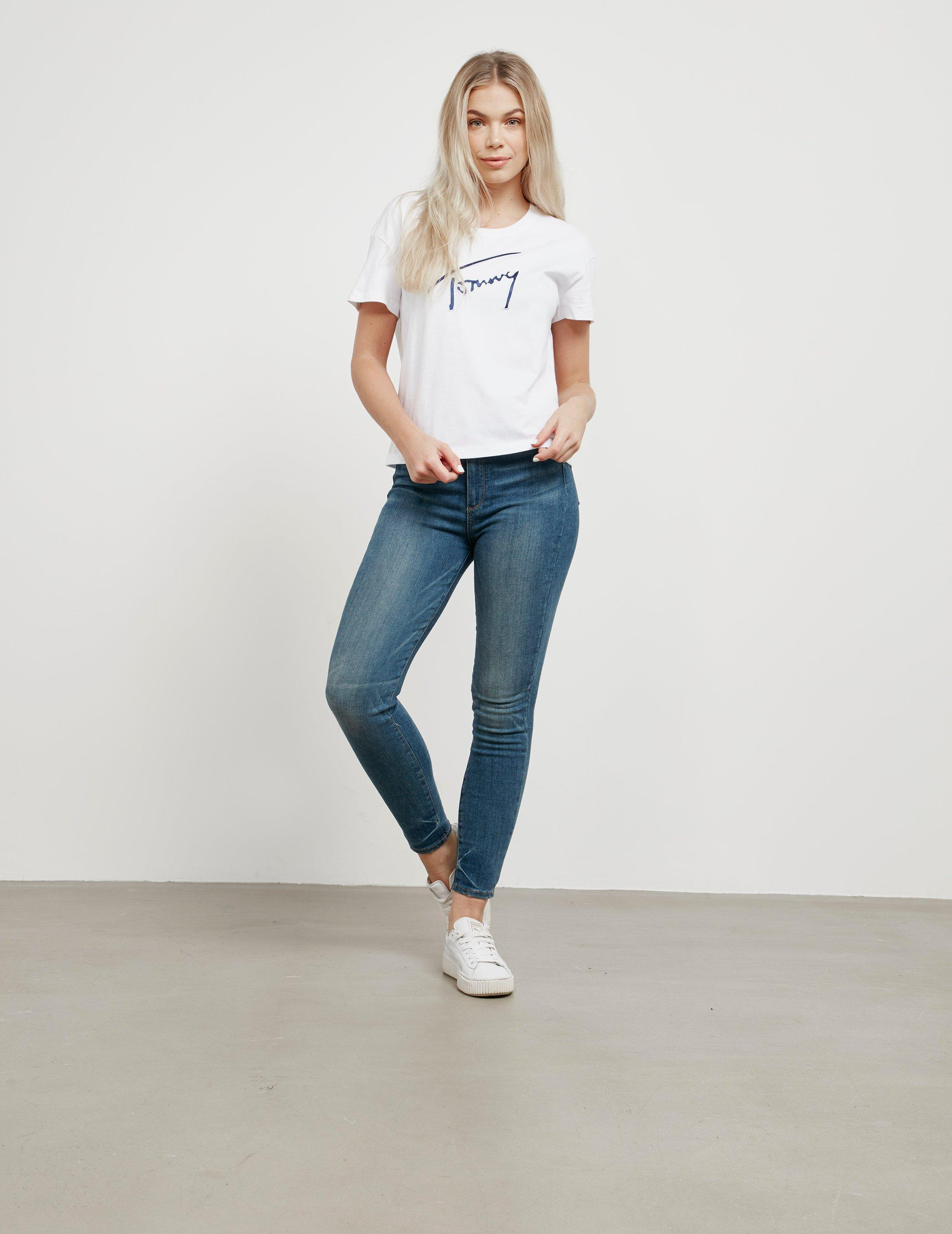 db0632357 Lyst - Tommy Hilfiger Signature Satin Short Sleeve T-shirt White in White