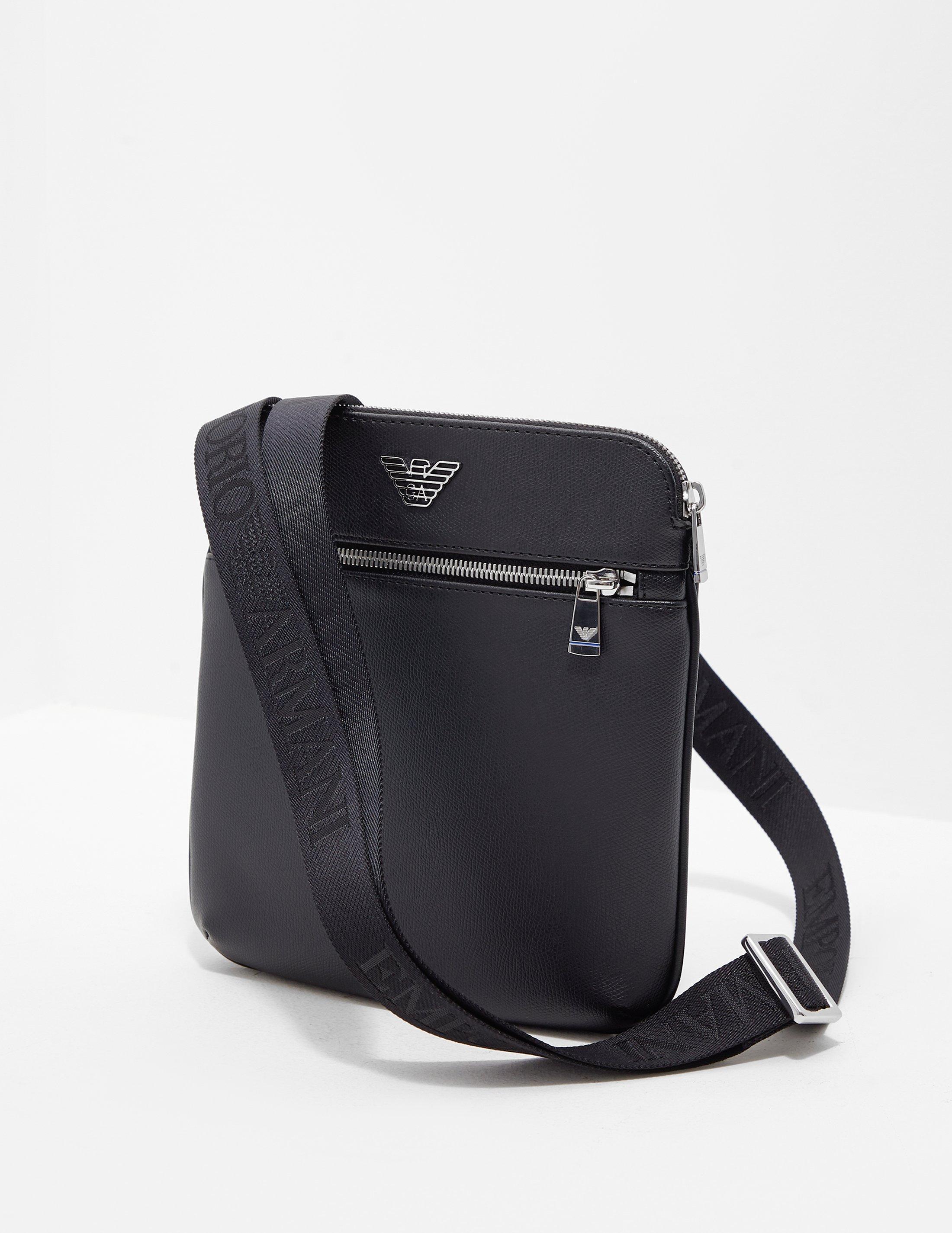 3fda748b93cac9 Emporio Armani Metallic Eagle Small Item Bag Black in Black for Men ...