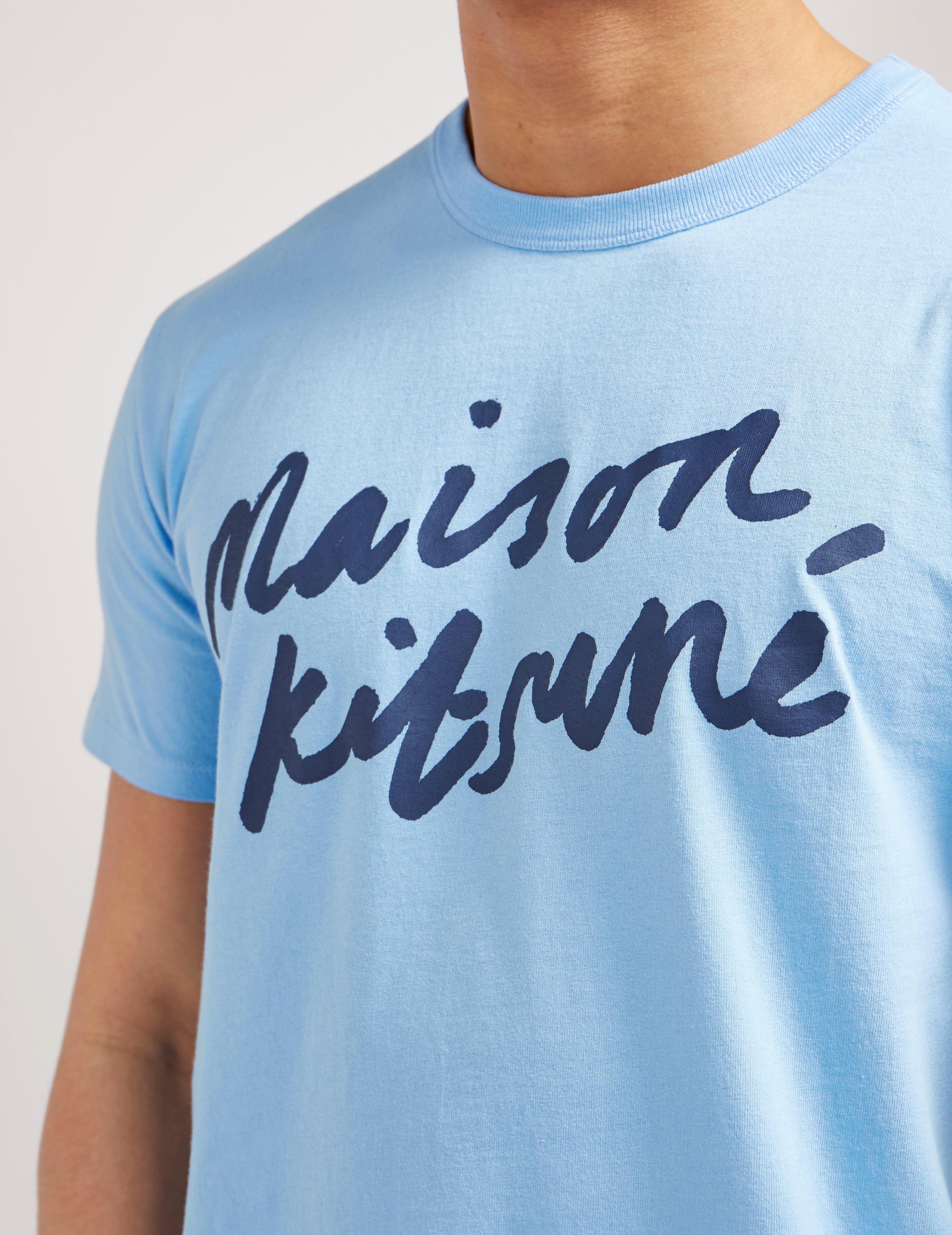 41b8b2af2689 Lyst - Maison Kitsuné Handwriting Short Sleeve T-shirt in Blue for Men