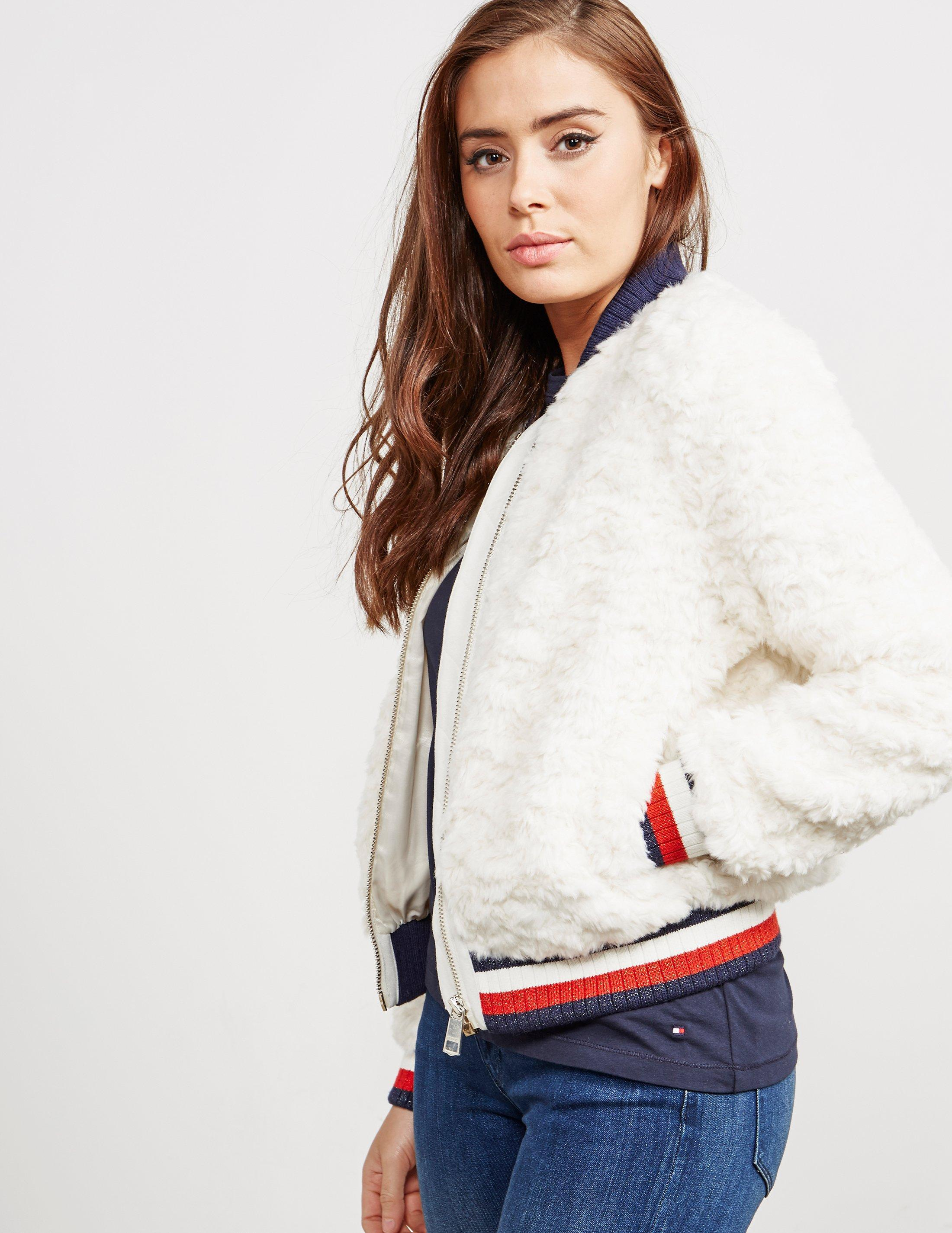 17dc5058cf05cd Lyst - Tommy Hilfiger Womens Carlo Fur Bomber Jacket White in White