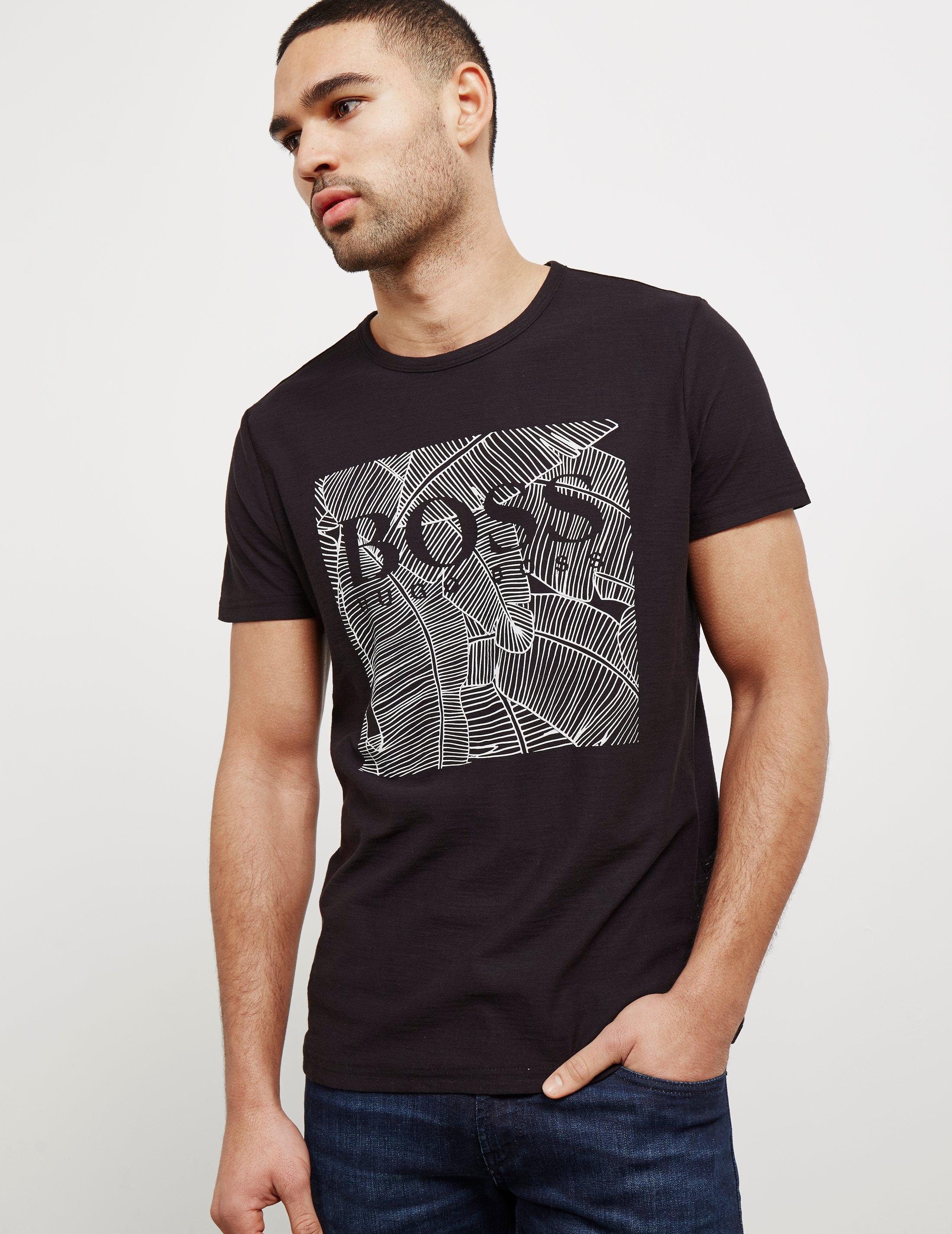 Lyst boss mens orange tarit1 palm short sleeve t shirt for Boss mens t shirts