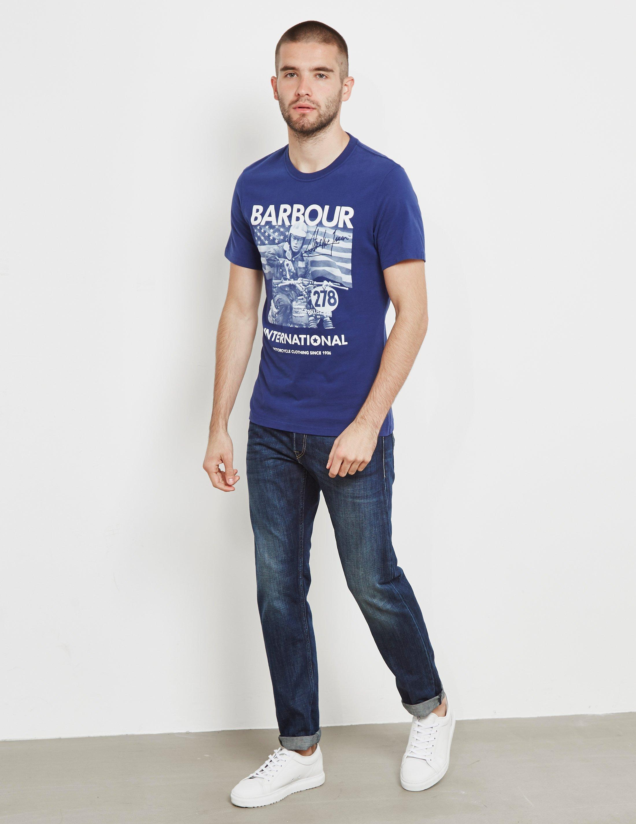 e98c36cf441 Barbour Steve Mcqueen Short Sleeve T-shirt in Blue for Men - Save 68% - Lyst