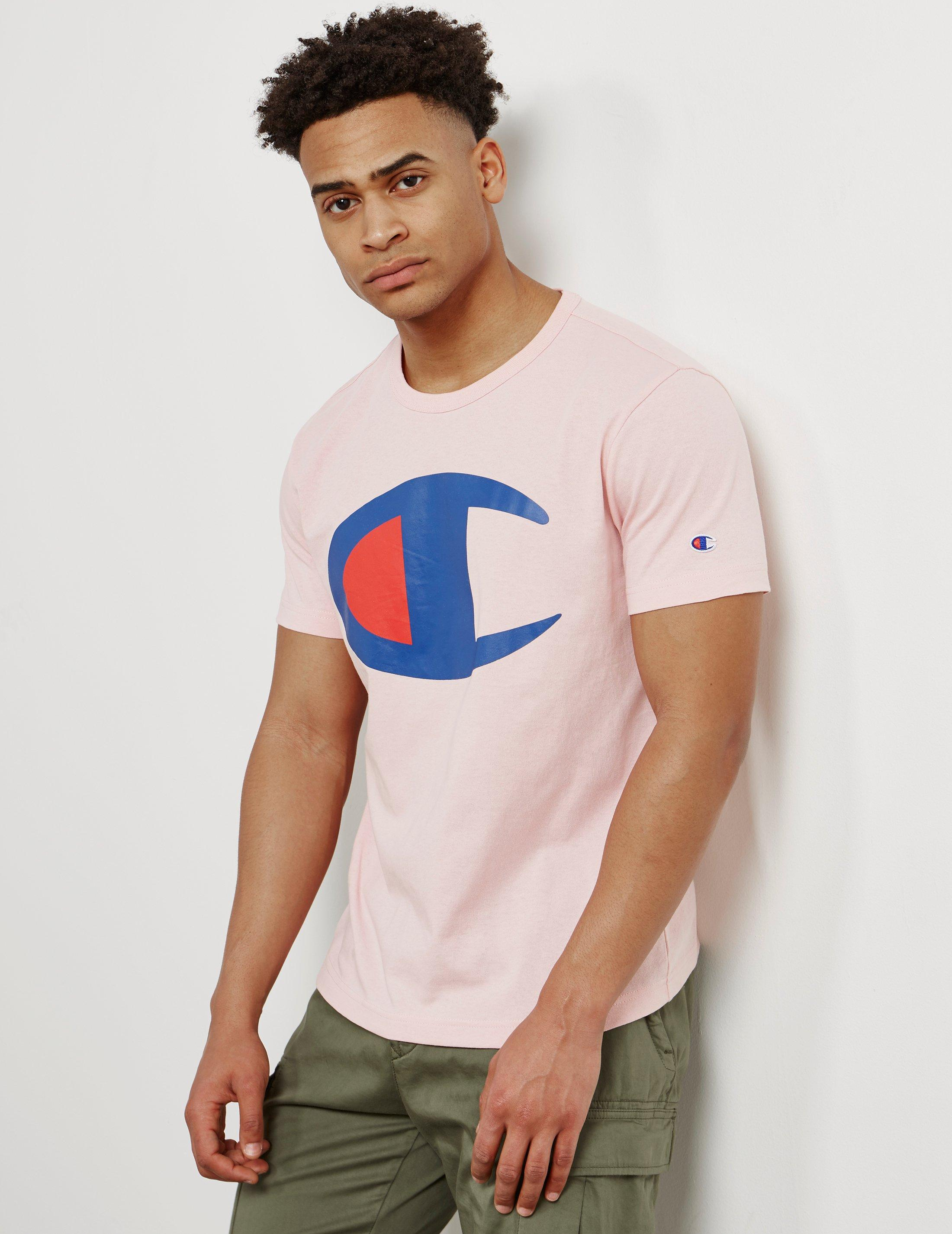 cd6f0e28 Champion Mens Large Print Logo Short Sleeve T-shirt Pink in Pink for ...