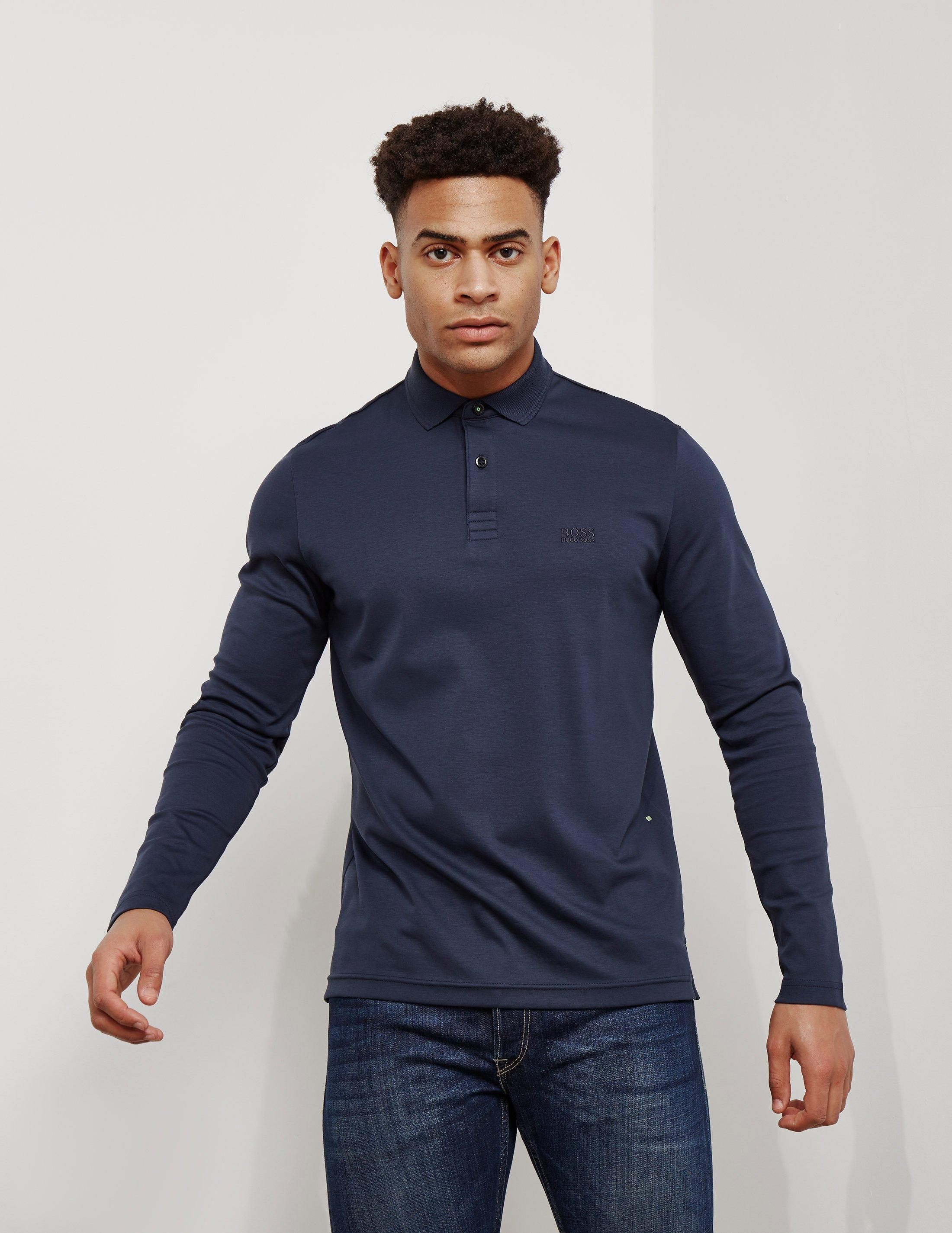 af73781d Lyst - BOSS Pirol Long Sleeve Polo Shirt Navy Blue in Blue for Men