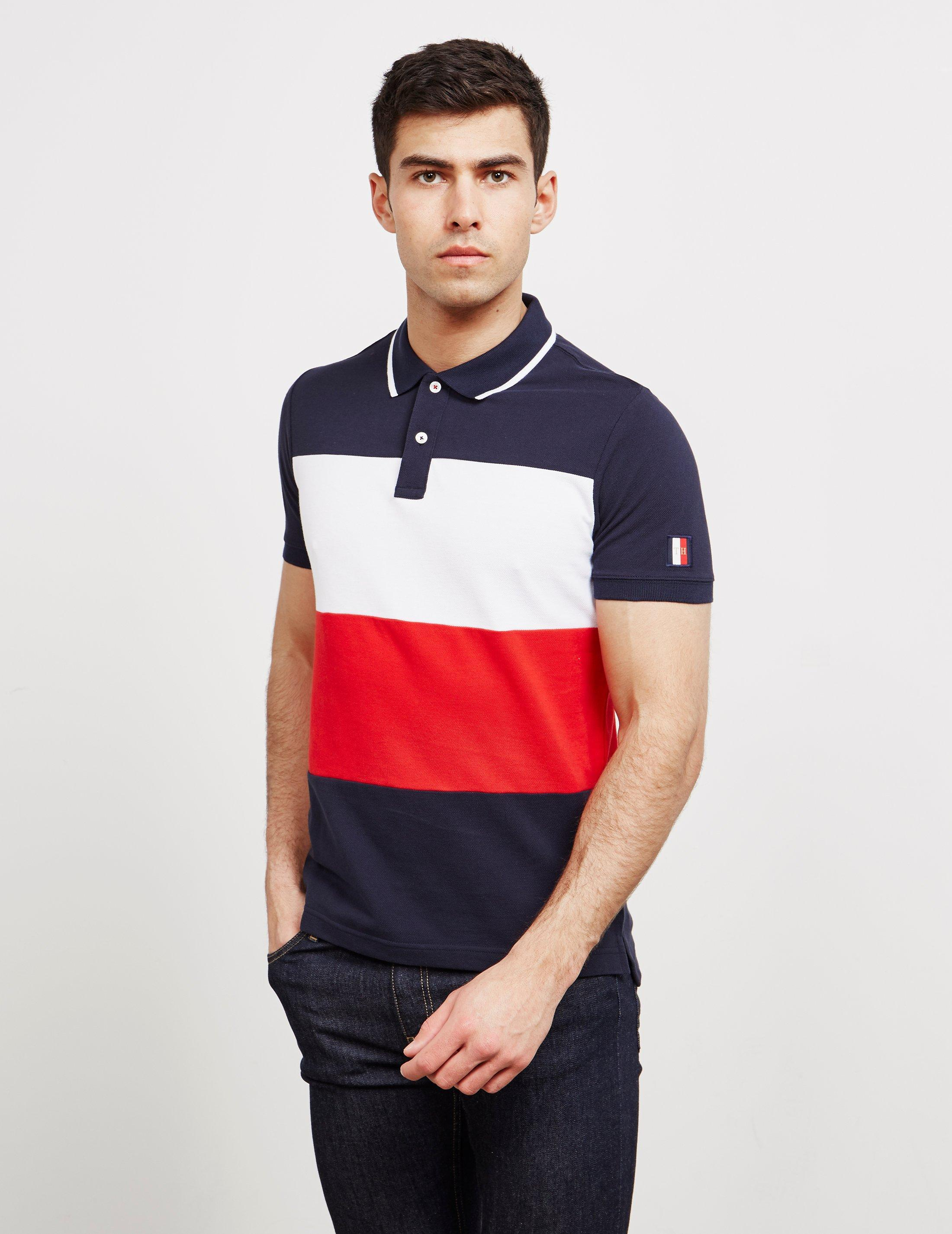 c88ec5ff11eb Tommy Hilfiger. Men s Icon Colour Block Short Sleeve Polo Shirt Navy Blue