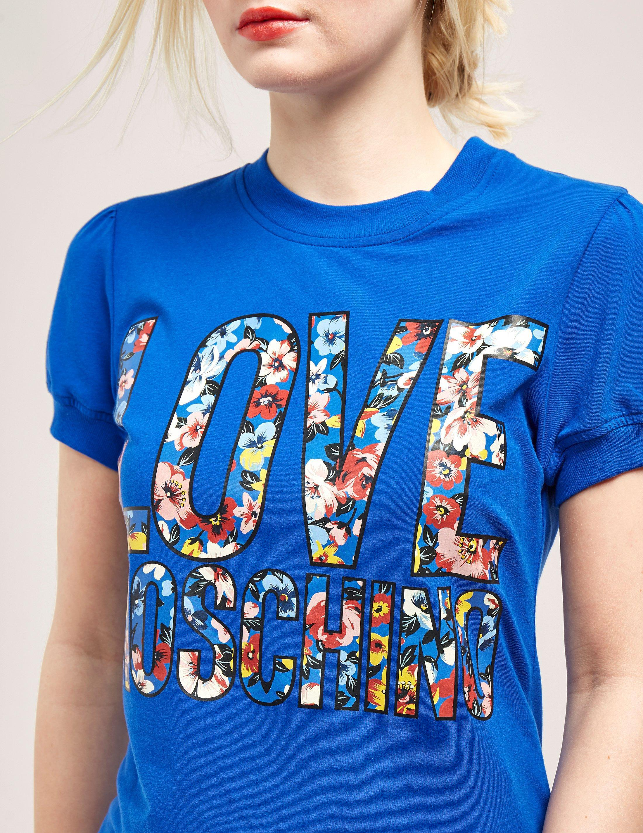Lyst Floral Blue Love Short Shirt T In Moschino Sleeve nCFFa6xwZq
