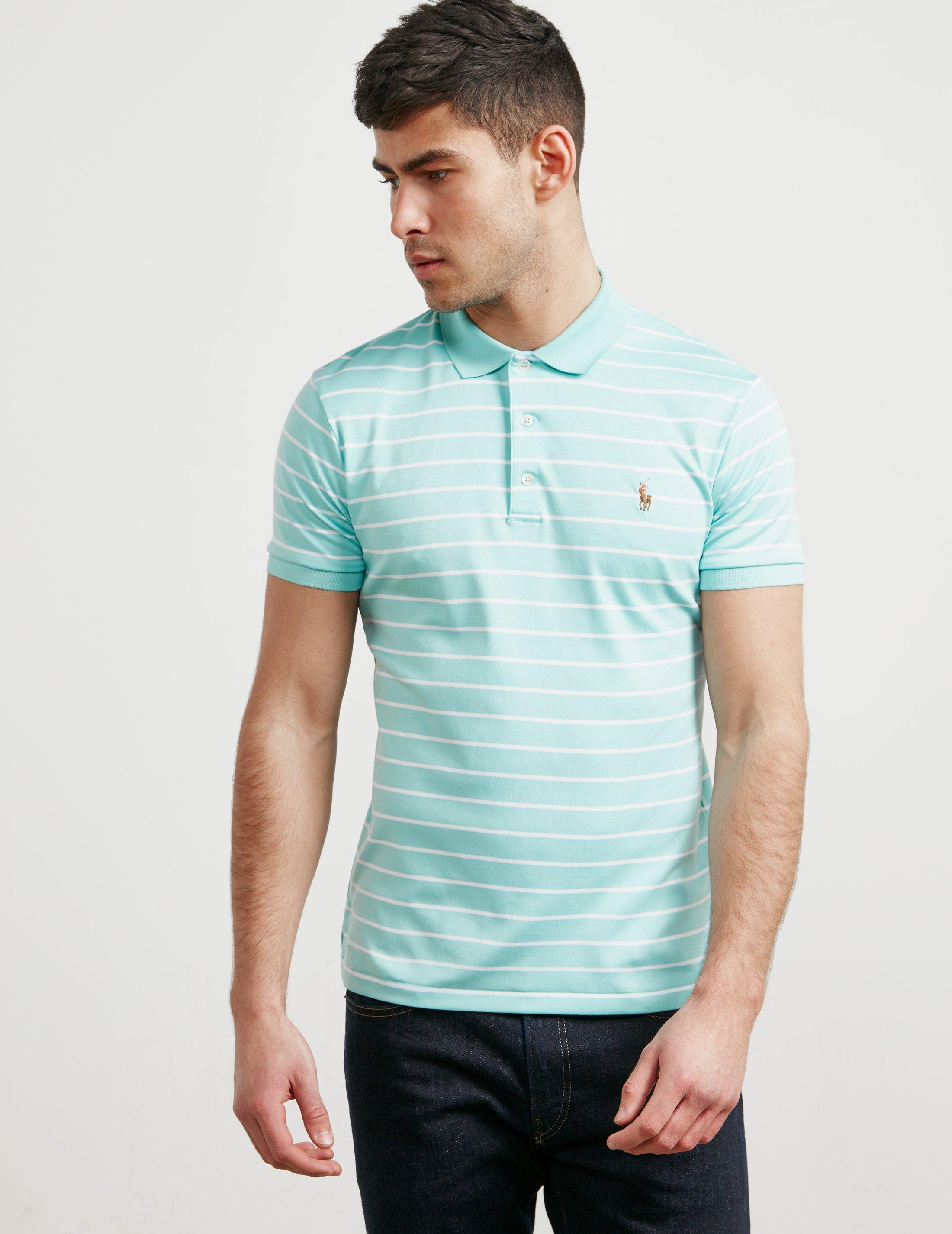 0fe395d829750 Polo Ralph Lauren Mens Stripe Short Sleeve Polo Shirt Green in Green ...