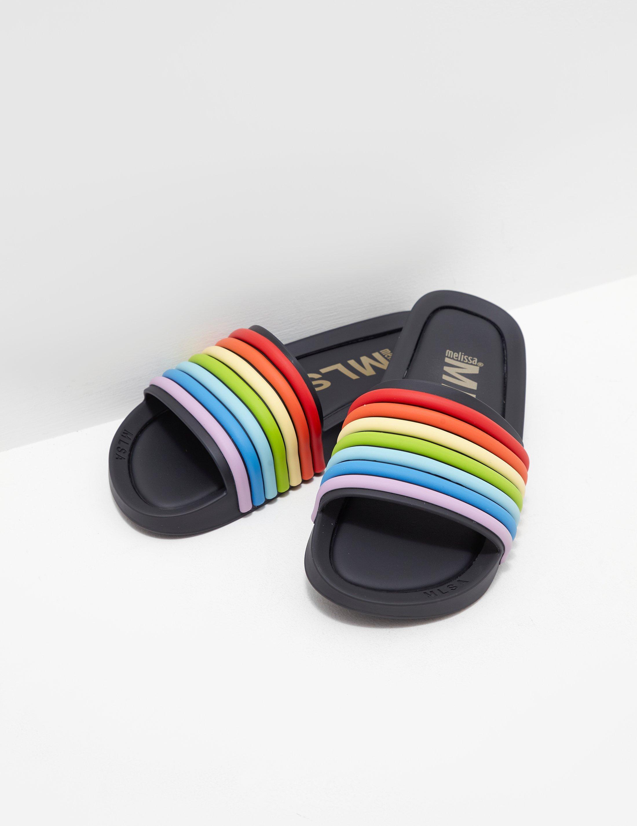 8d9c359eac6 Melissa - Rainbow Beach Slides Black - Lyst. View fullscreen
