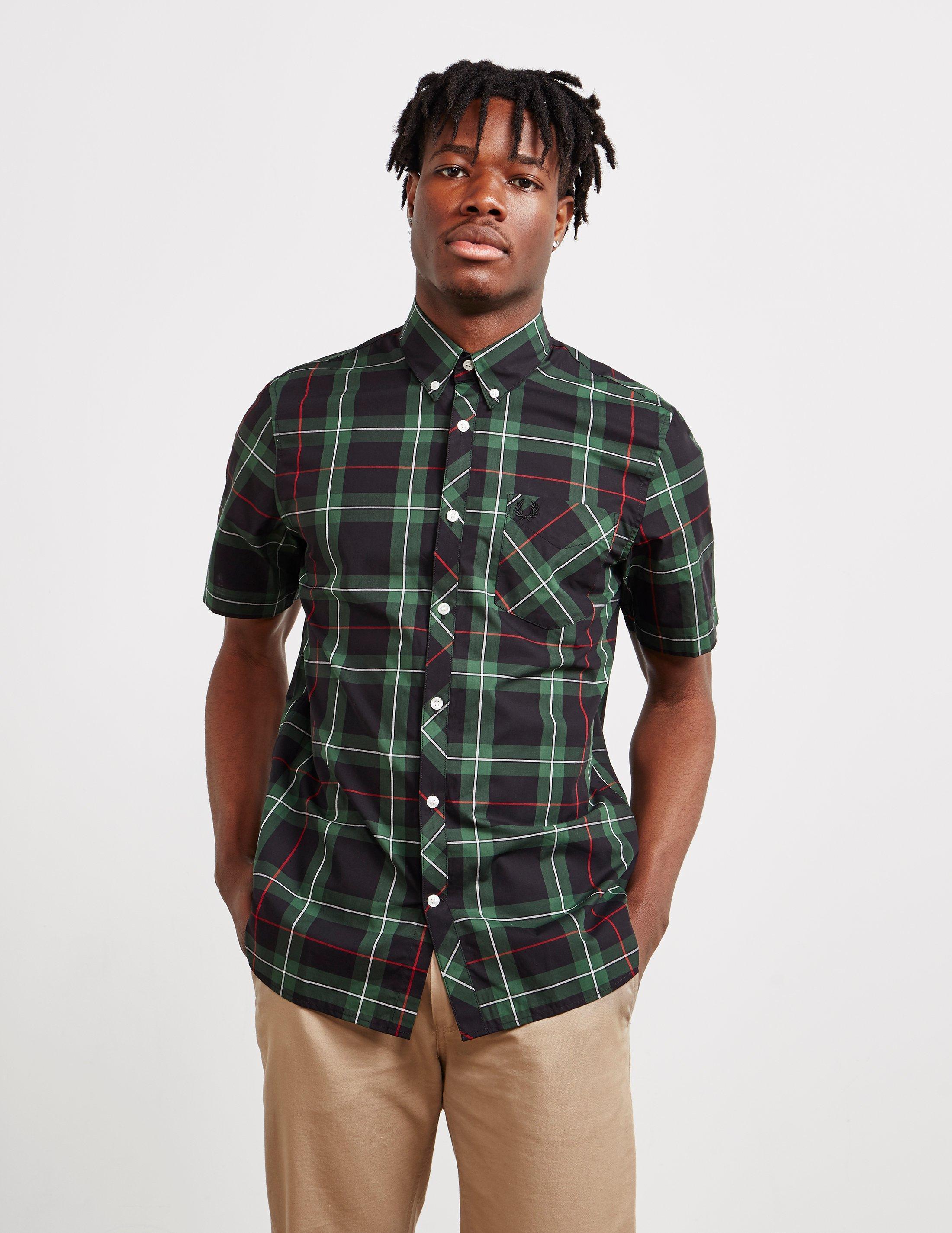 0033a9df04d Lyst - Fred Perry Tartan Short Sleeve Shirt Green in Green for Men