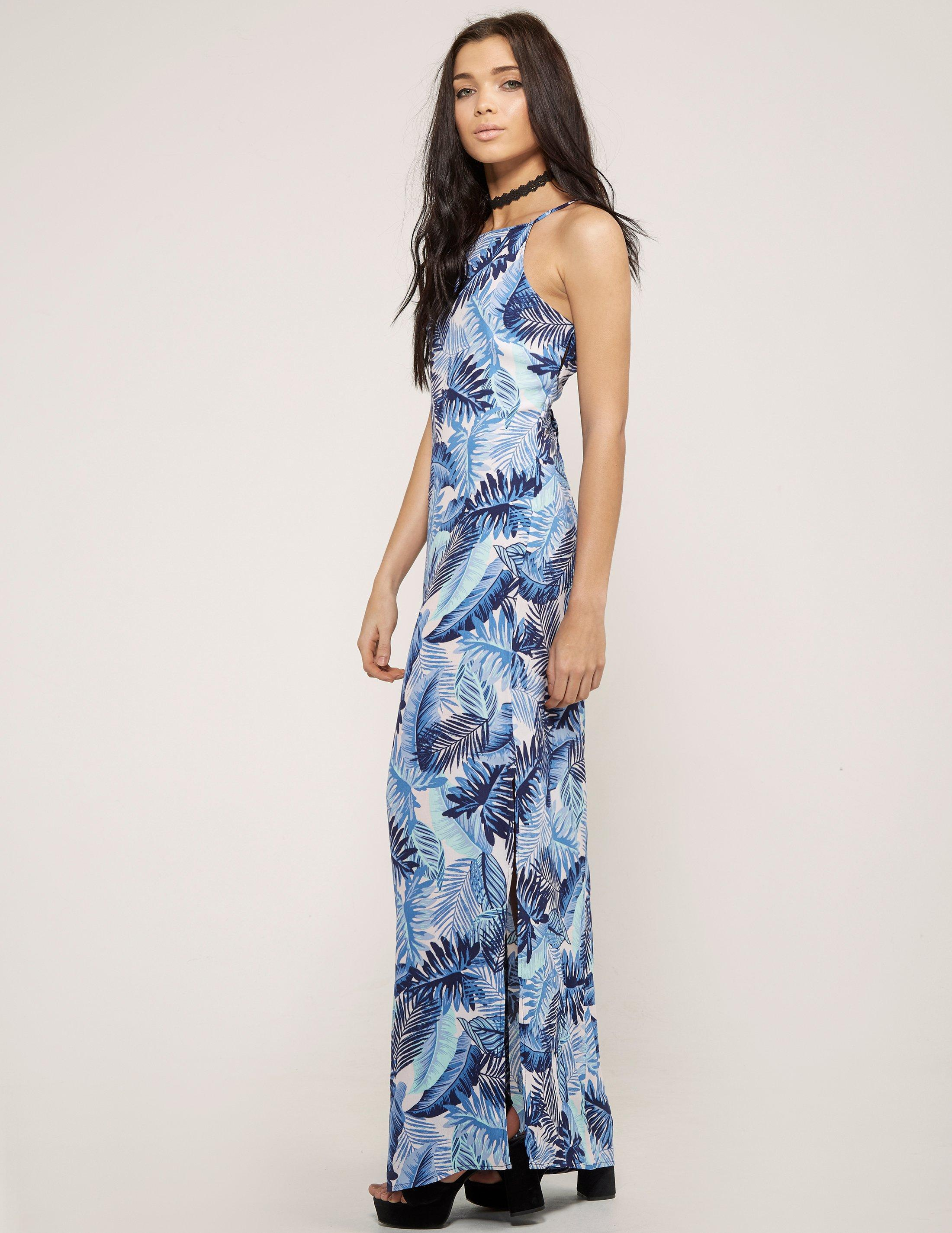83e7f540ba Lyst - Juicy Couture Palm Leaves Maxi Dress in Blue